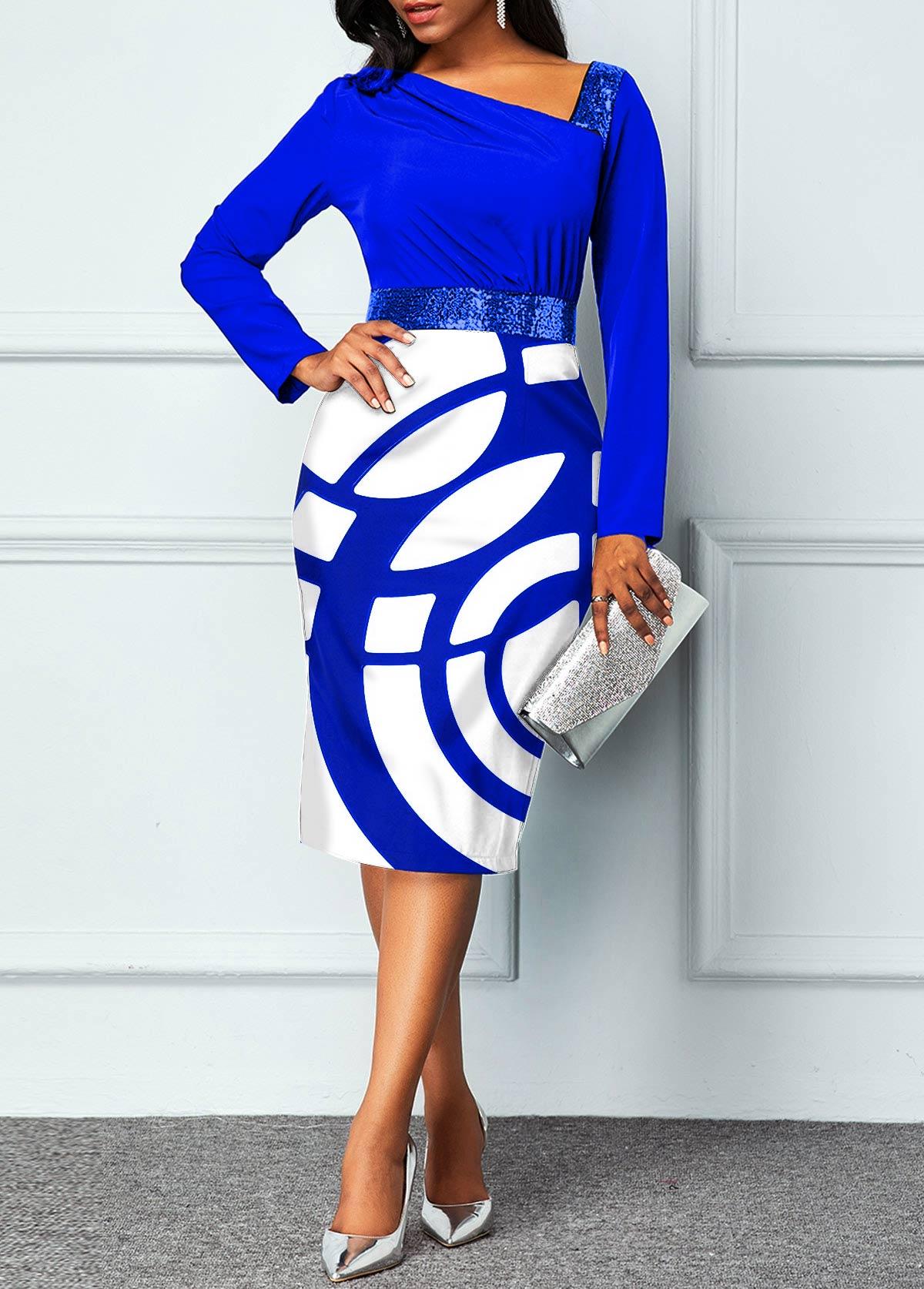 ROTITA Geometric Print Long Sleeve Sequin Dress