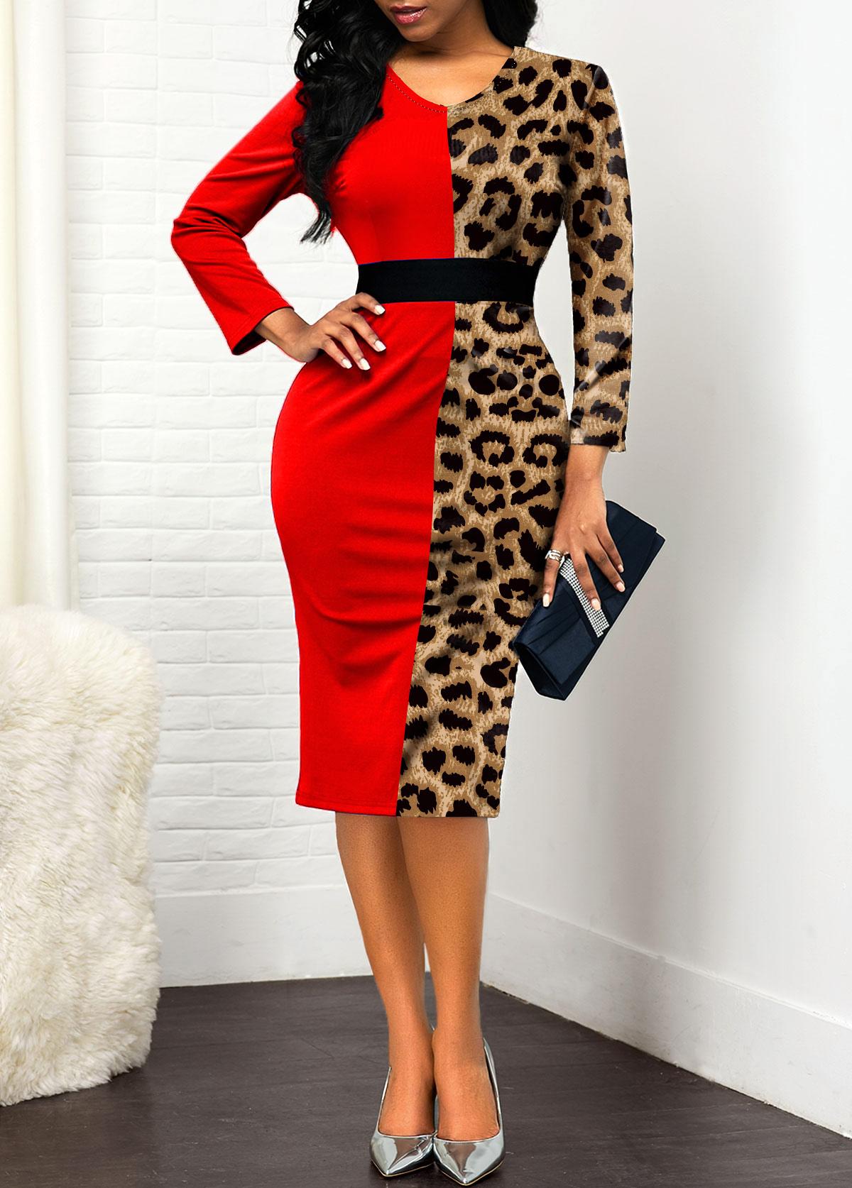ROTITA V Neck Long Sleeve Leopard Dress