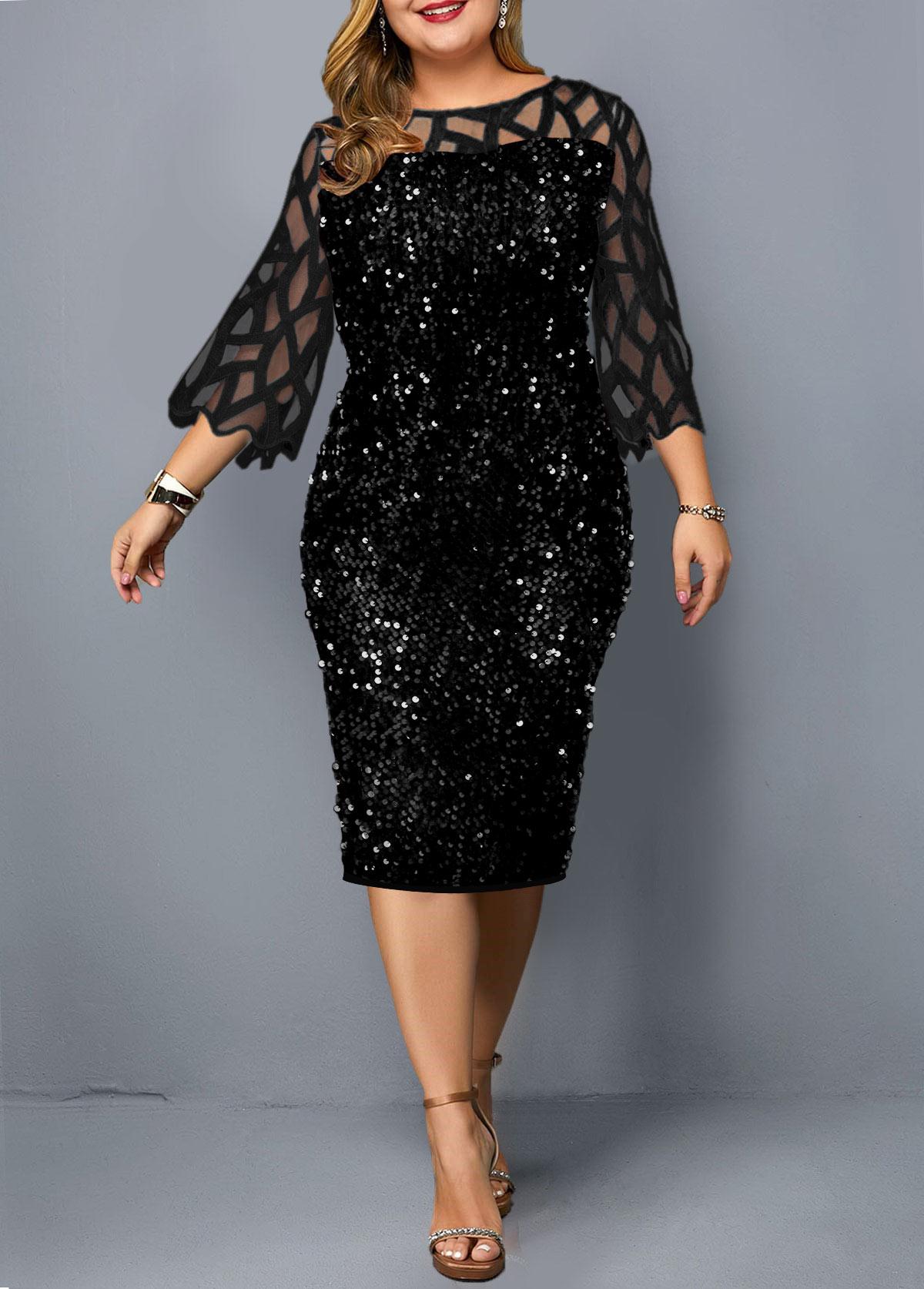 ROTITA Plus Size Mesh Stitching Sequin Dress