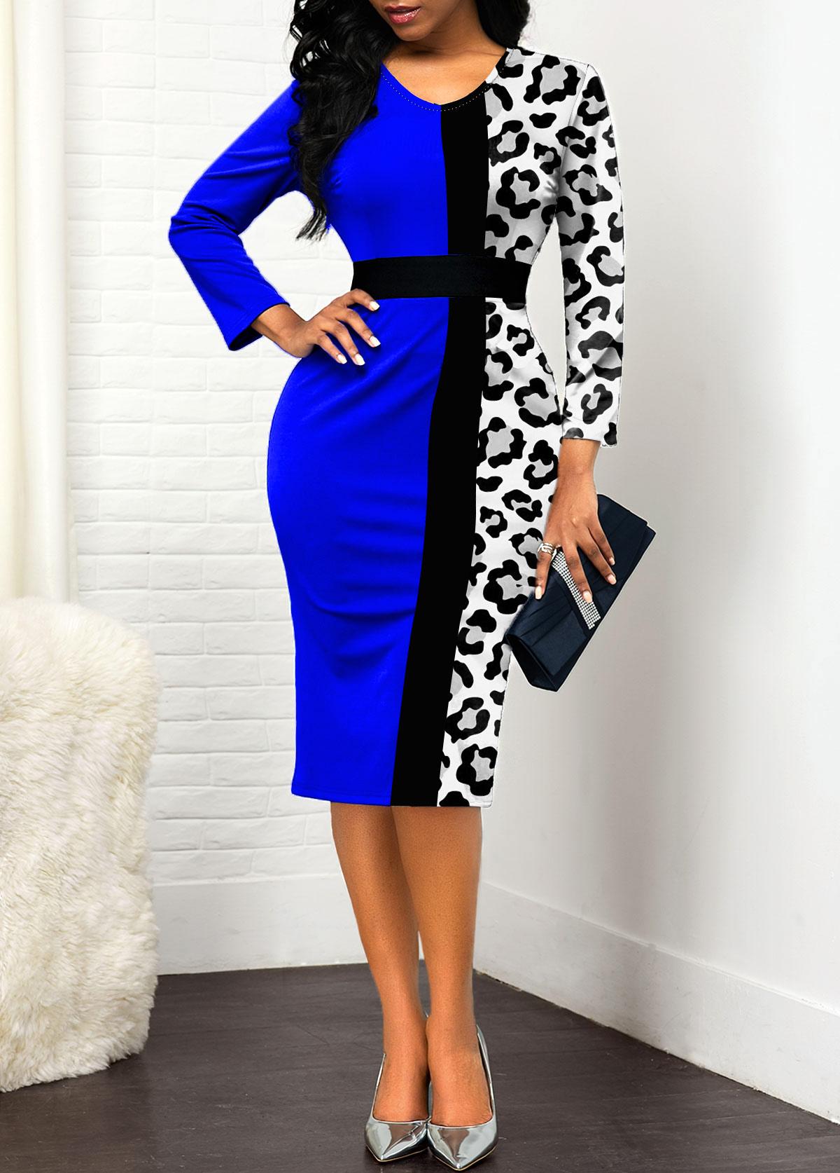 ROTITA Long Sleeve Leopard Contrast Bodycon Dress