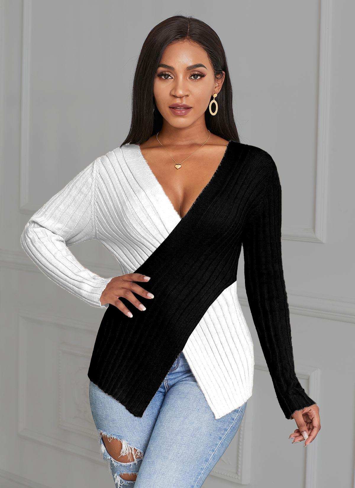 ROTITA Plus Size Asymmetric Hem V Neck Color Block Sweater