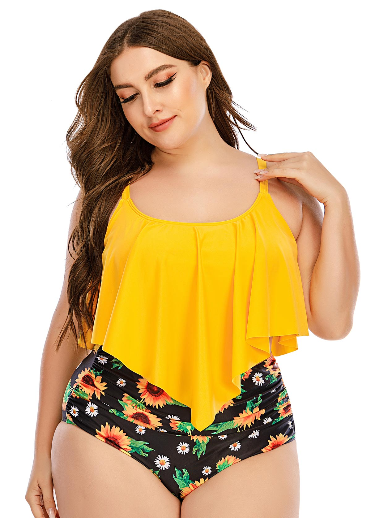 Plus Size Asymmetric Hem Sunflower Print Bikini Set