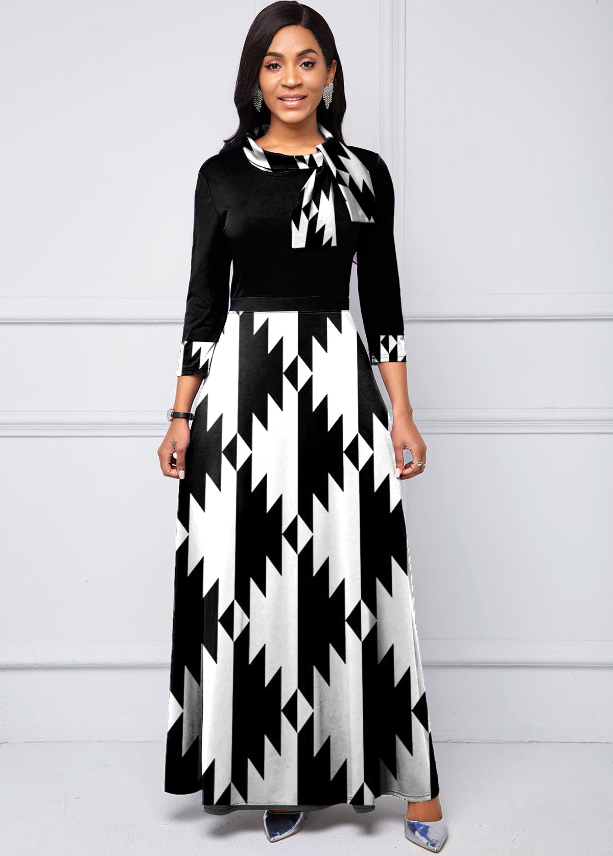 ROTITA Geometric Print 3/4 Sleeve Bowknot Dress
