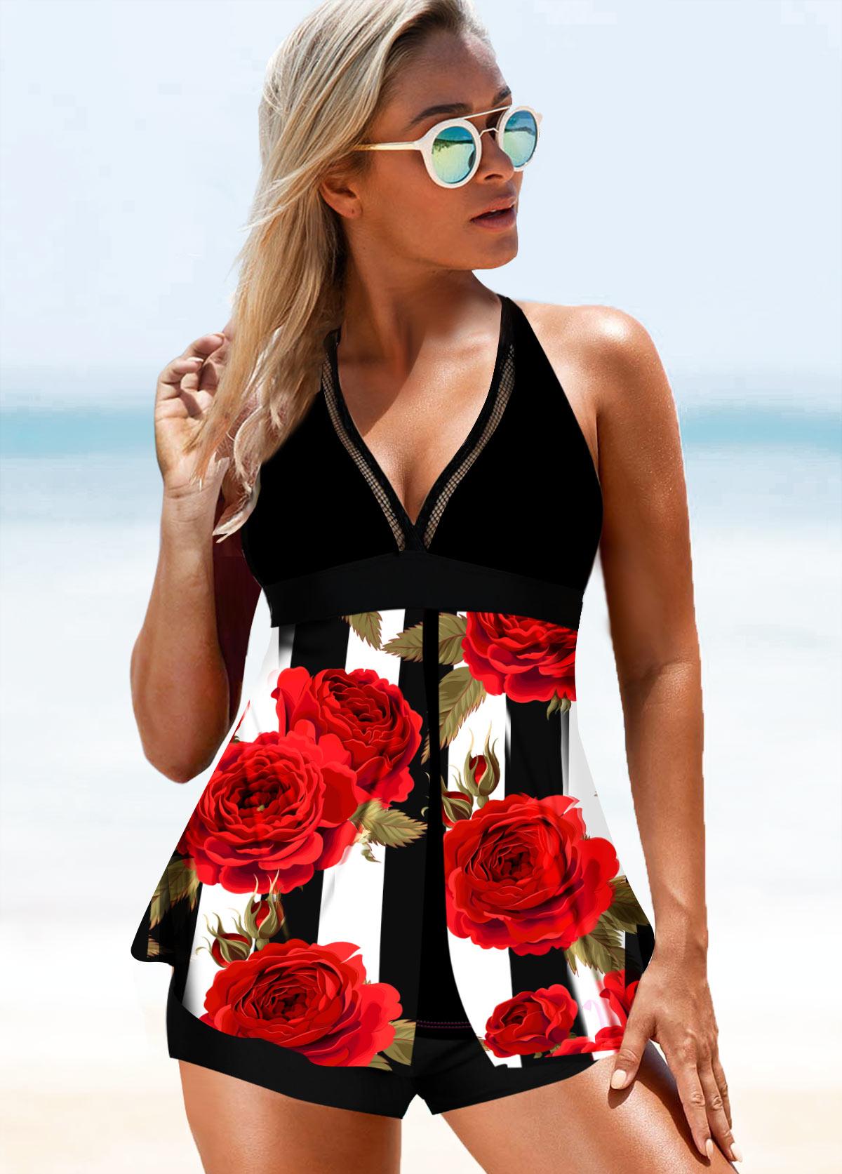 ROTITA Halter Floral Print Swimdress and Shorts