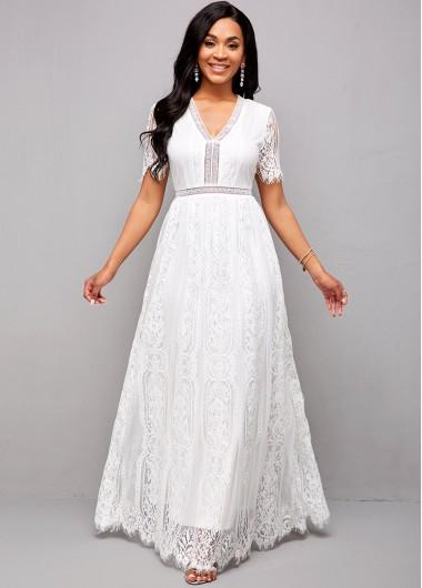 Rotita / ROTITA V Neck Short Sleeve Lace Maxi Dress