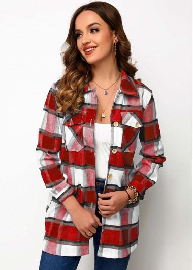 Blouses & Shirts Chest Pocket Button Up Plaid Shirt