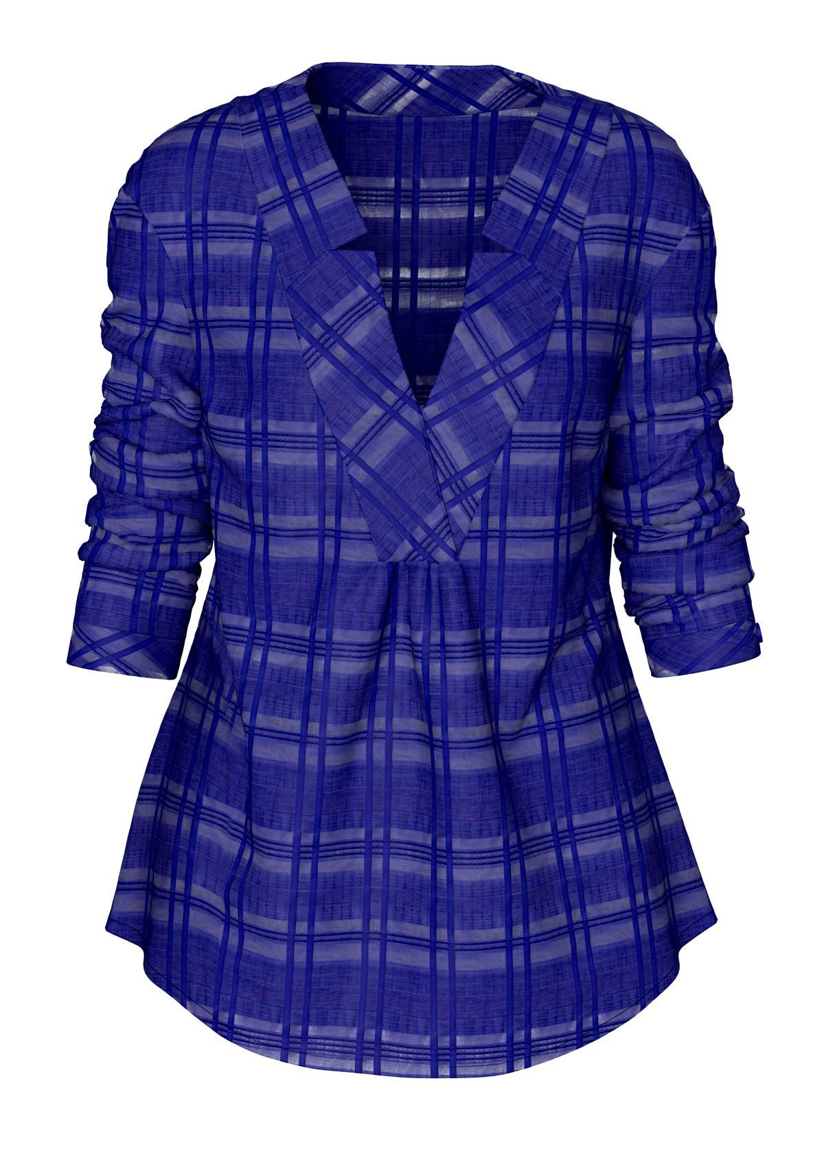 ROTITA Curved Hem Long Sleeve Royal Blue Blouse
