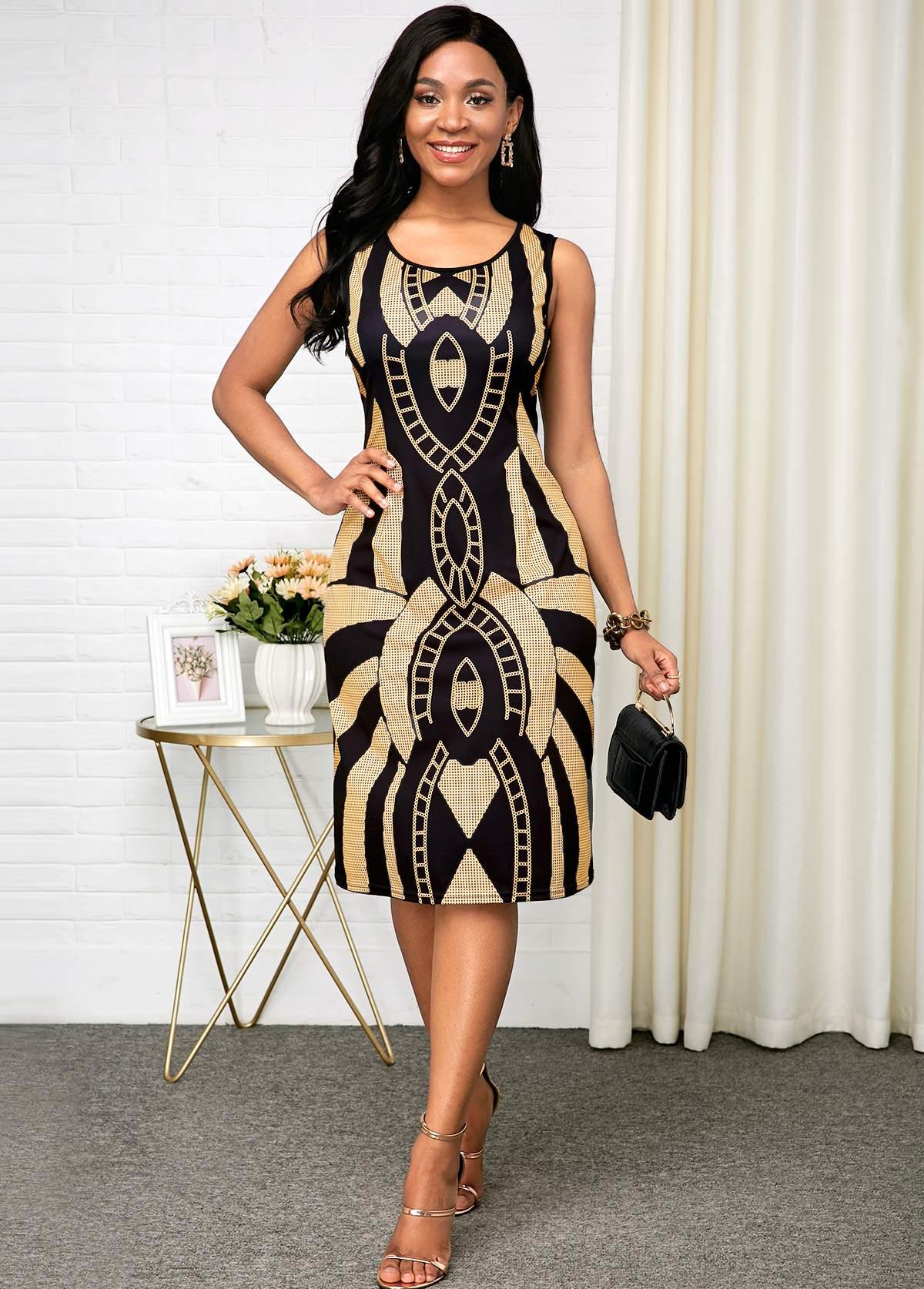 ROTITA Sleeveless Tribal Print Black Round Neck Dress