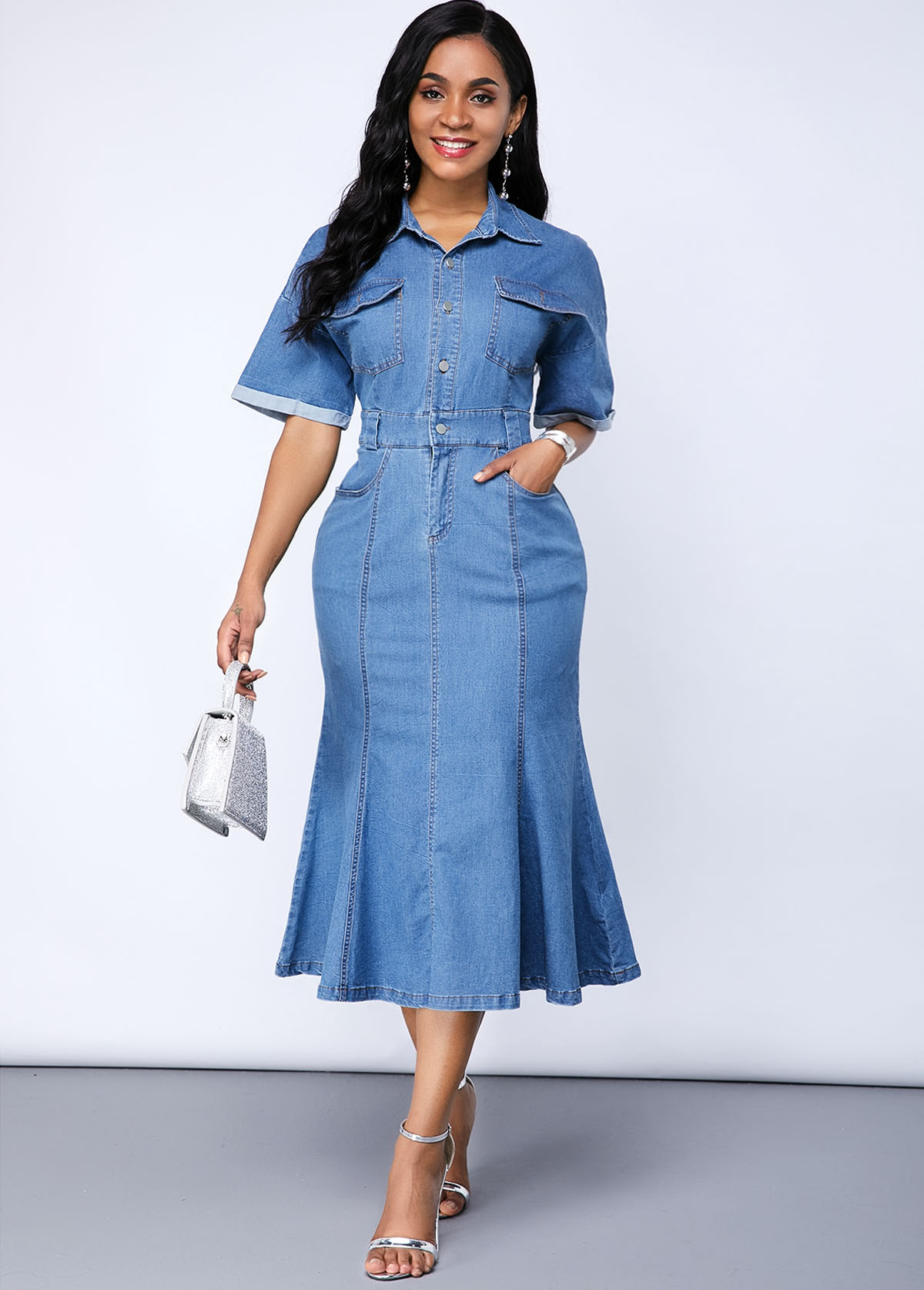 ROTITA Button Up Cutout Back Pocket Denim Dress