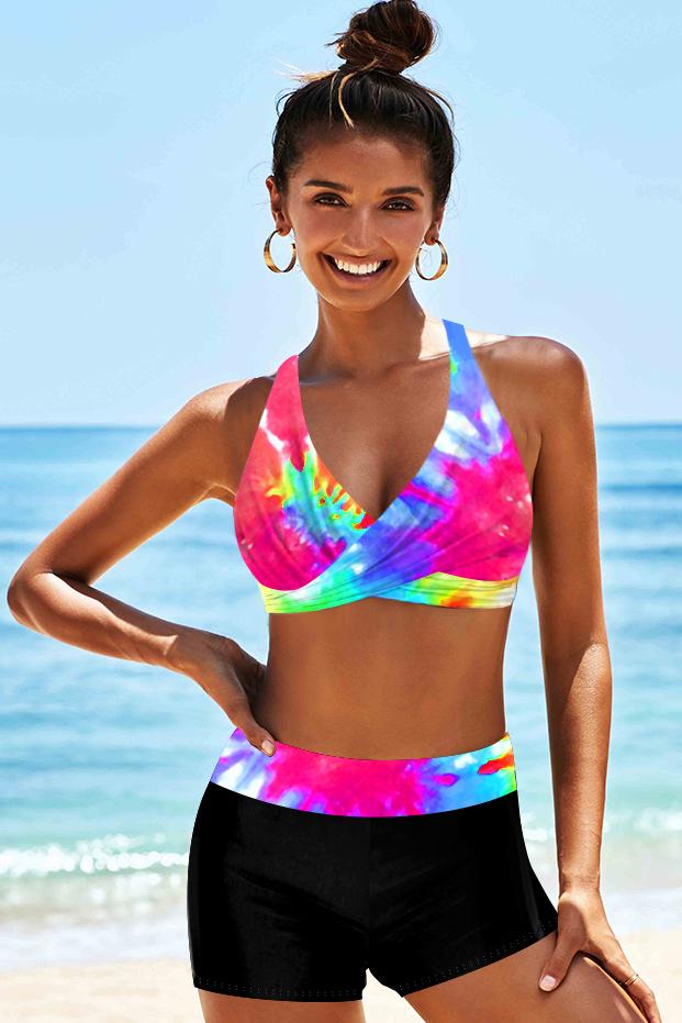 ROTITA Halter Tie Dye Print High Waist Bikini Set