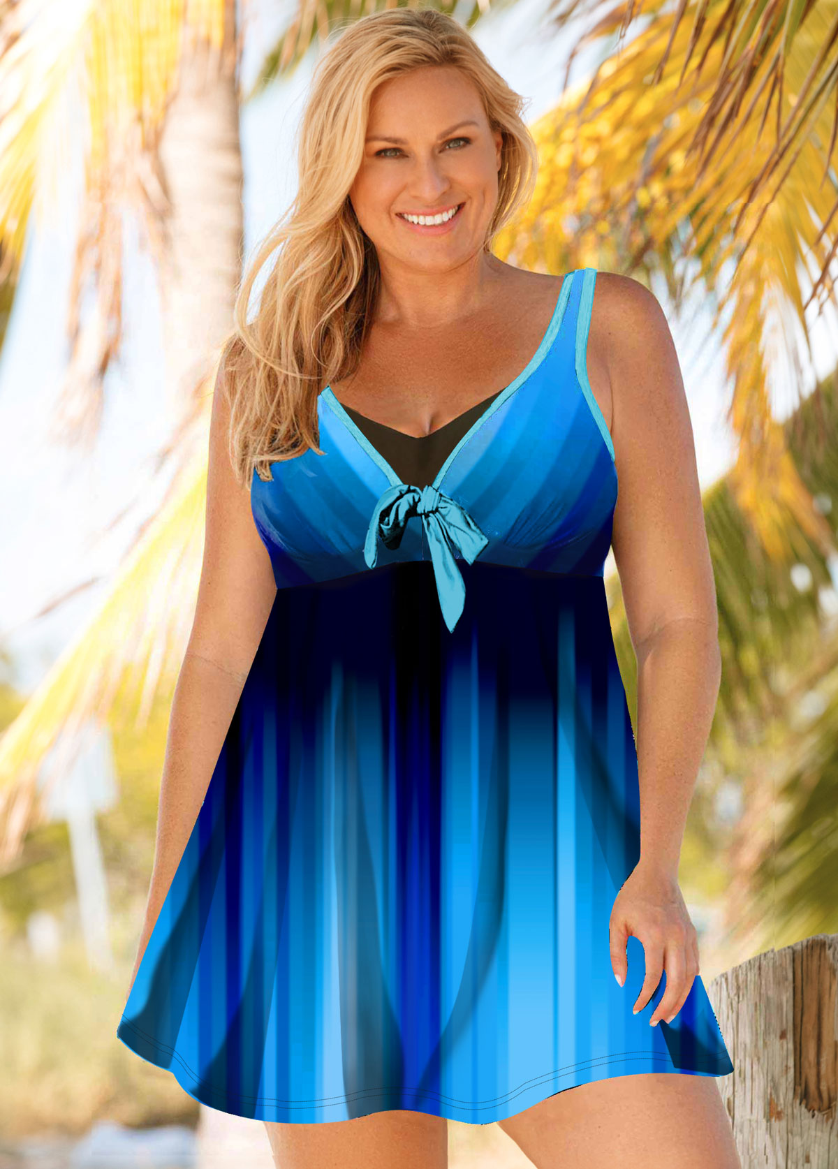 ROTITA Plus Size Bowknot Ombre Swimdress and Shorts