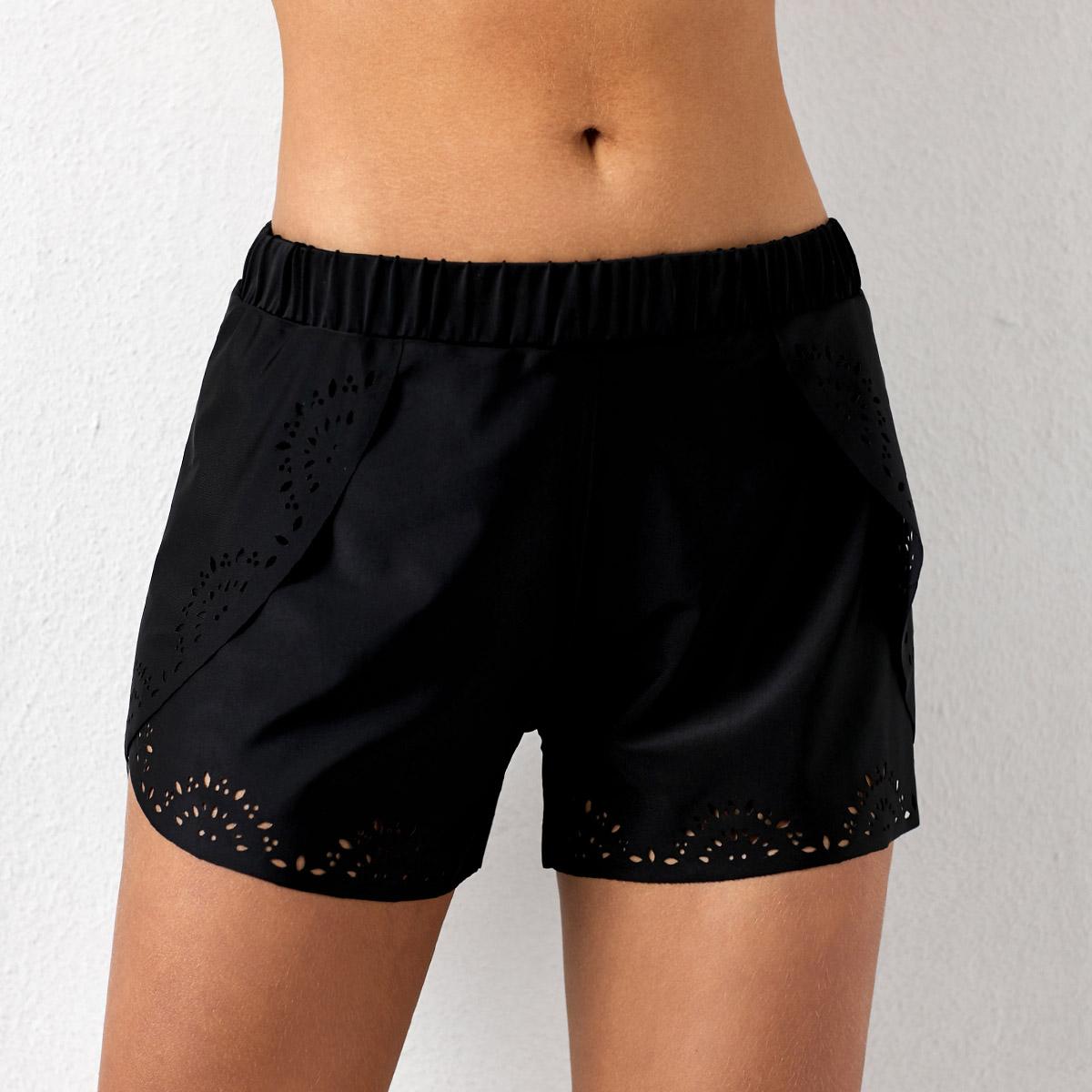 ROTITA Pierced Mid Waist Black Swimwear Shorts