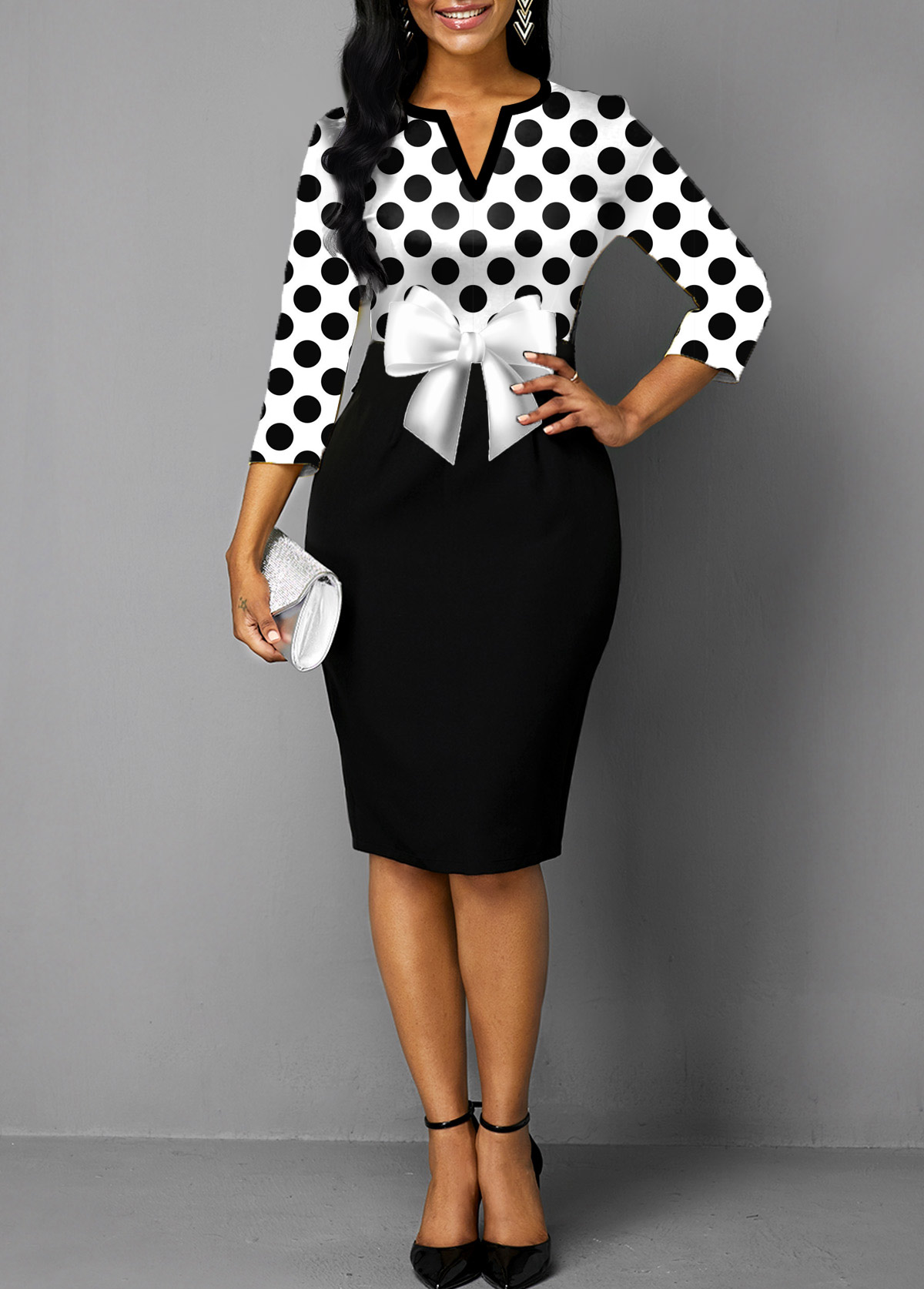ROTITA Polka Dot Split Neck Bowknot Dress