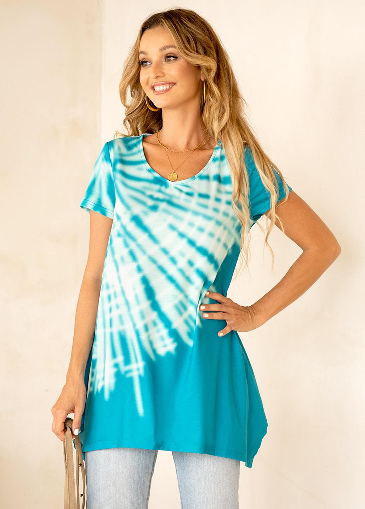 ROTITA Asymmetric Hem Short Sleeve Tie Dye Print T Shirt