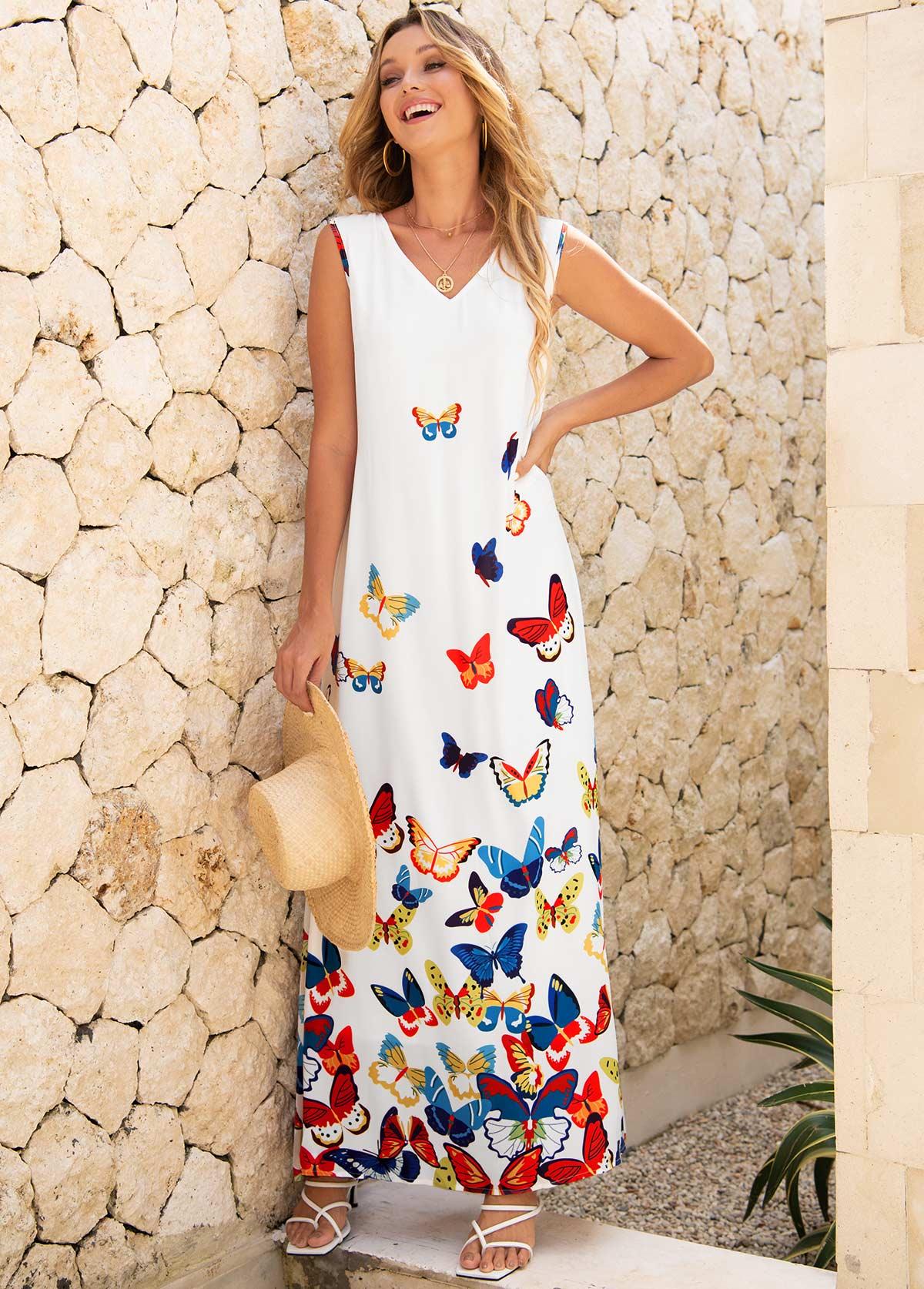 ROTITA Sleeveless Butterfly Print V Neck Dress
