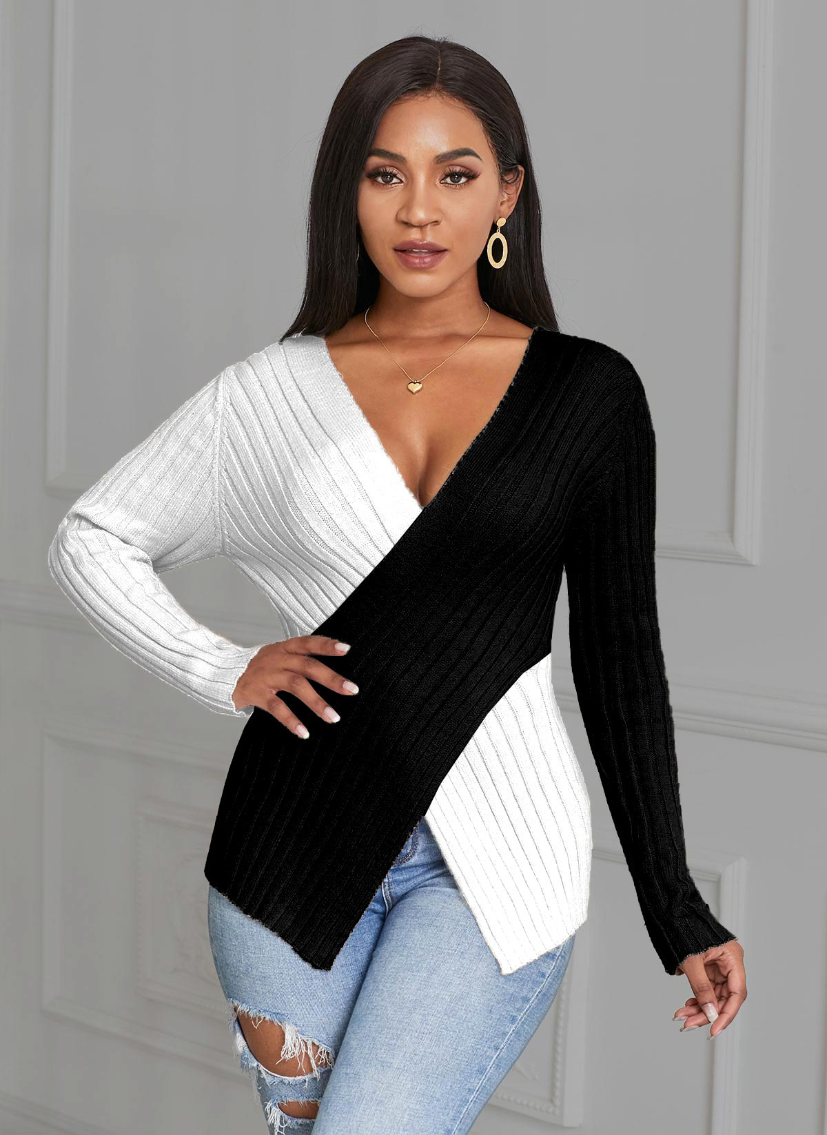 ROTITA Asymmetric Hem Color Block Cross Front Sweater