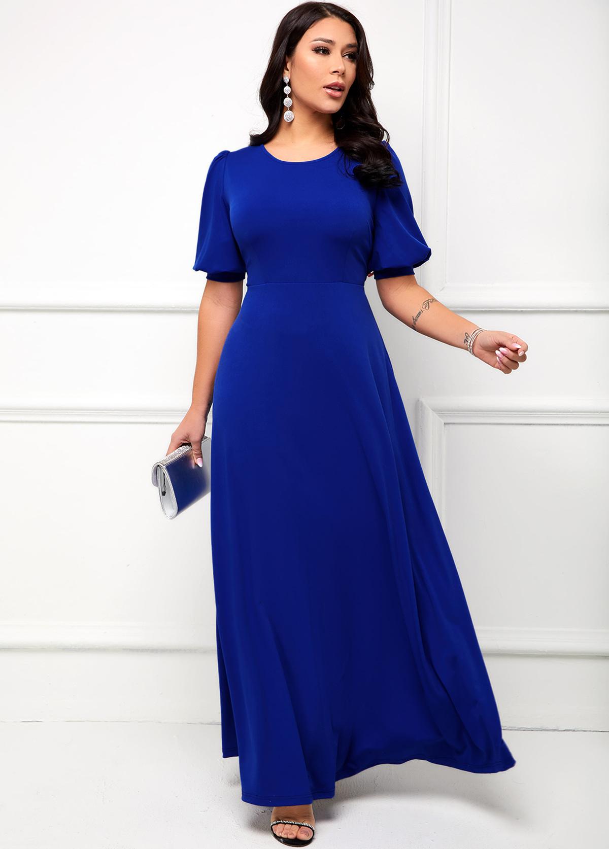 ROTITA Puff Sleeve Round Neck Maxi Dress
