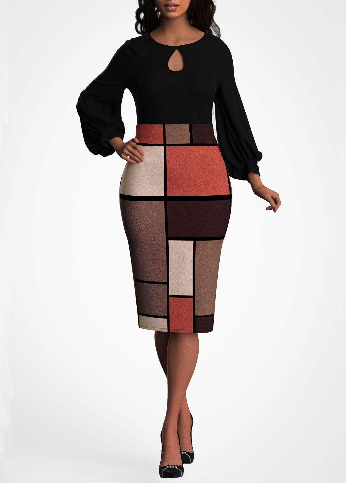 ROTITA Lantern Sleeve Keyhole Neckline Geometric Print Dress