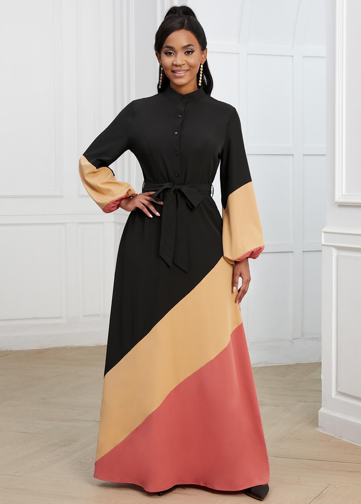 ROTITA Belted Lantern Sleeve Contrast Button Detail Dress