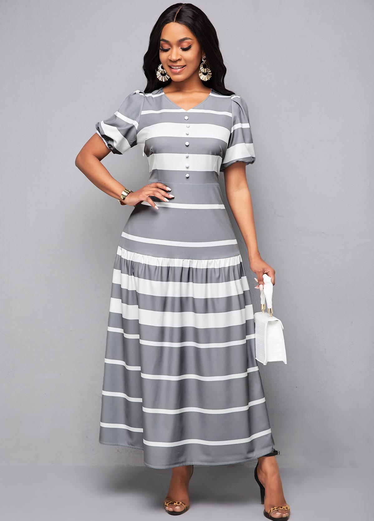 ROTITA Lantern Sleeve V Neck Striped Maxi Dress