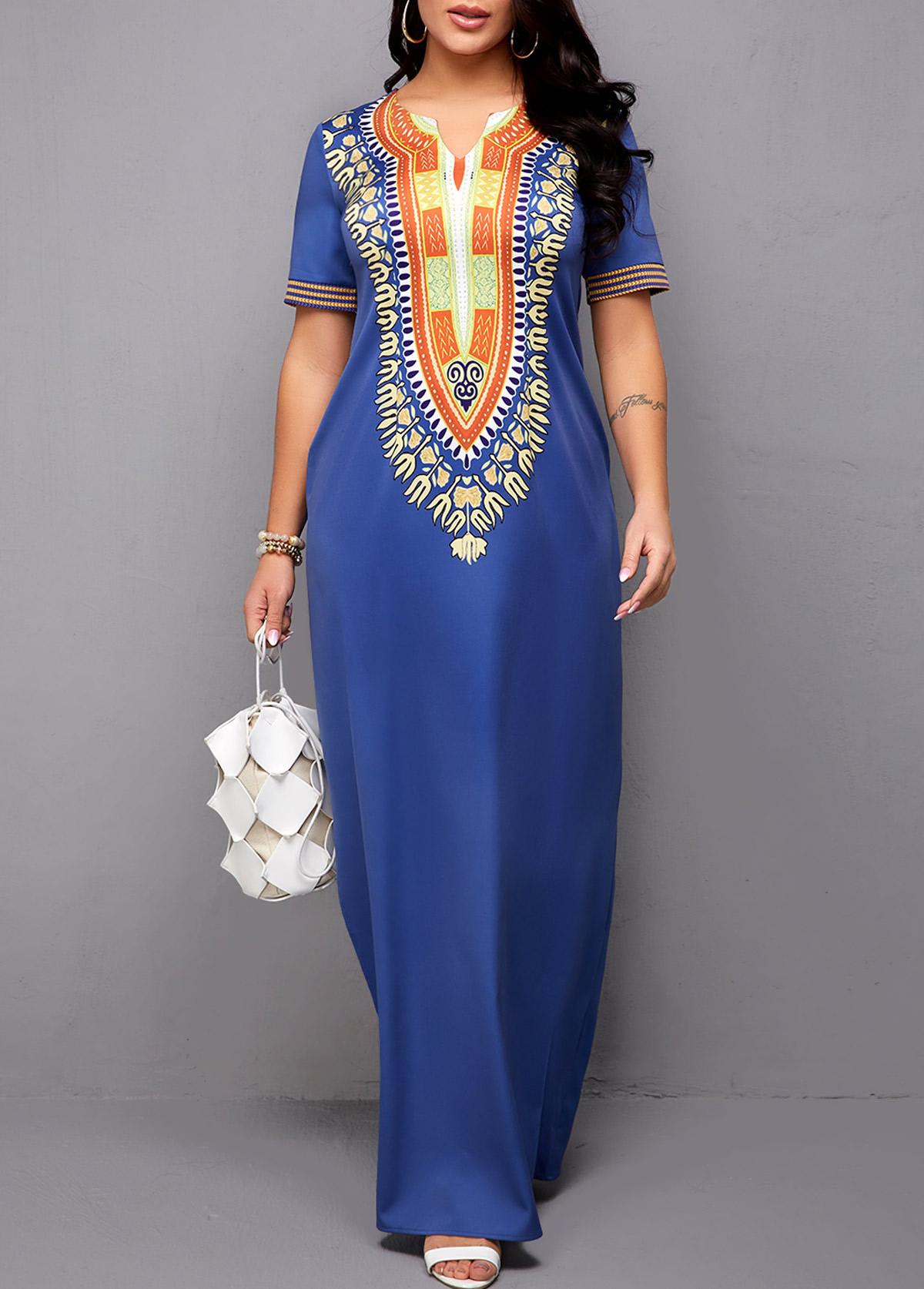 ROTITA Side Slit Dashiki Print Maxi Dress