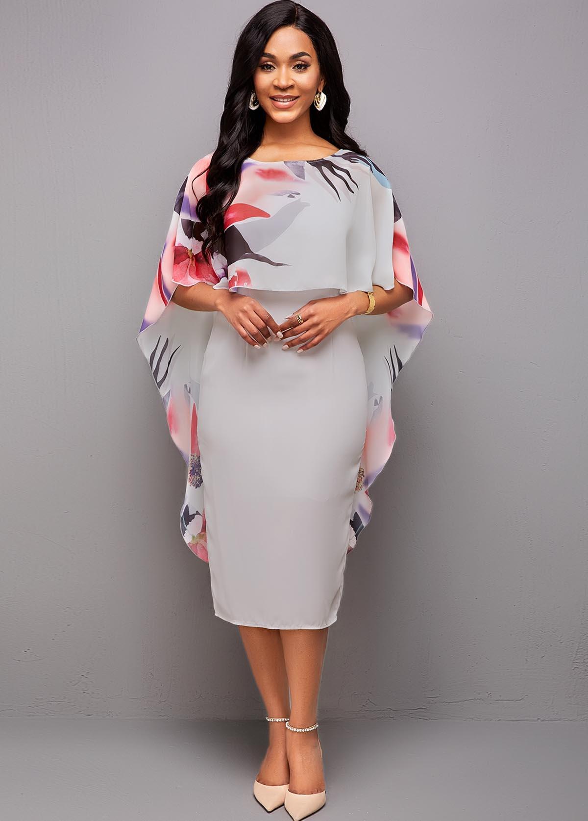 ROTITA 3/4 Sleeve Floral Print Bodycon Dress