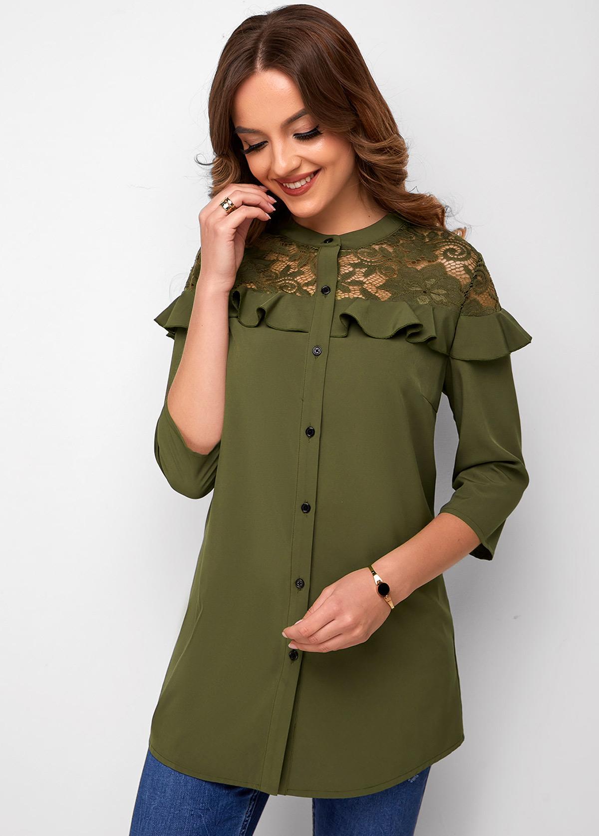 ROTITA Button Up Lace Stitching 3/4 Sleeve Blouse