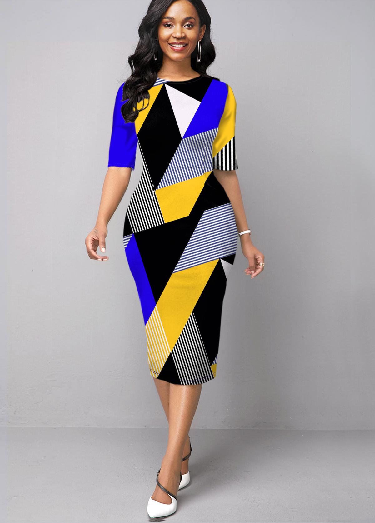 ROTITA Half Sleeve Round Neck Geometric Print Dress
