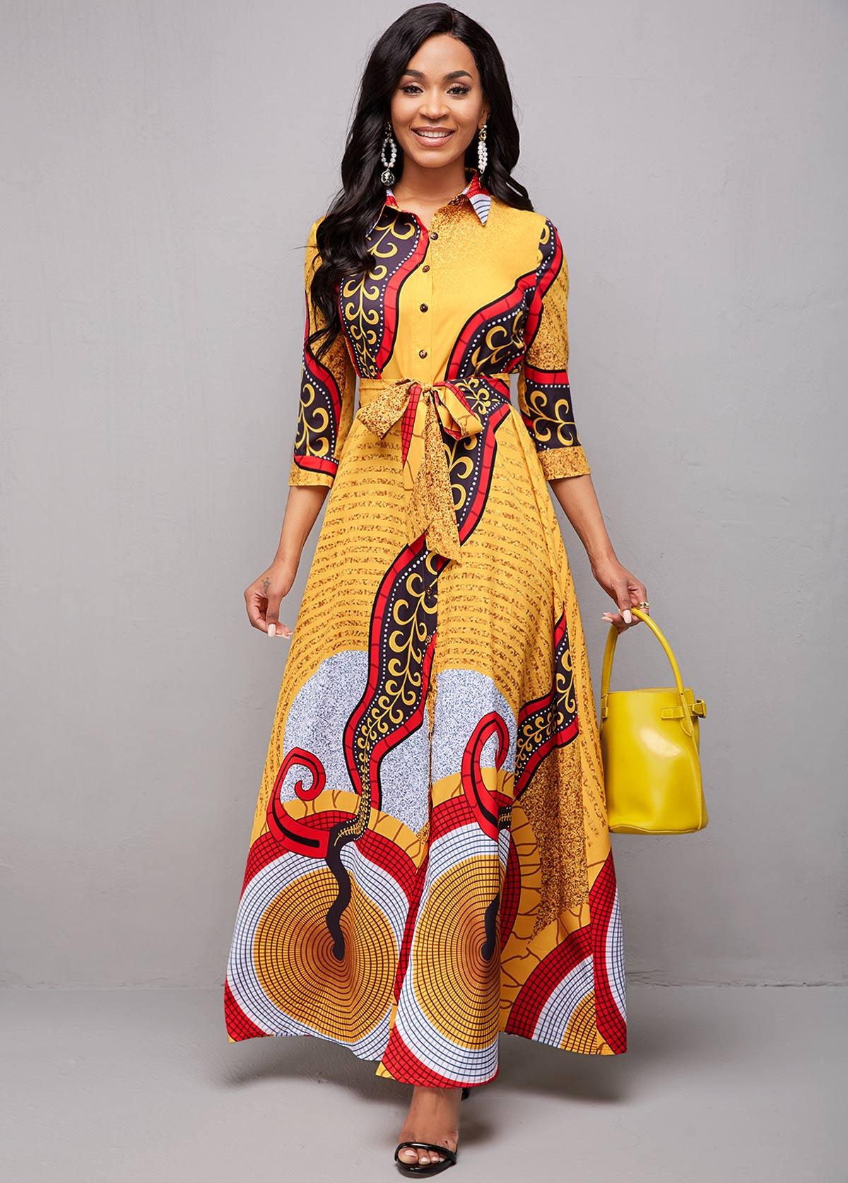 ROTITA Tribal Print Turndown Collar Belted Dress
