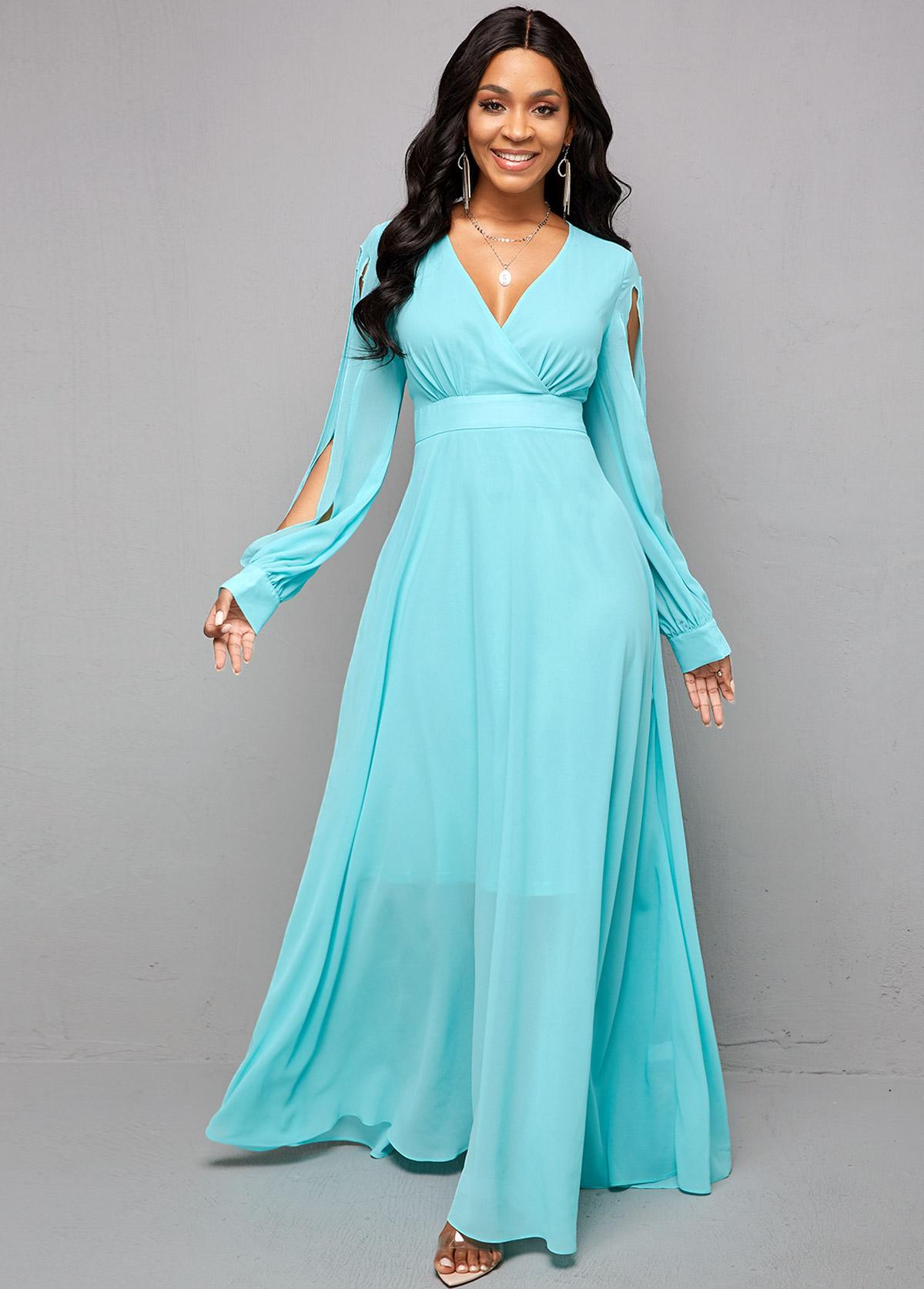 ROTITA V Neck Cutout Sleeve Maxi Dress