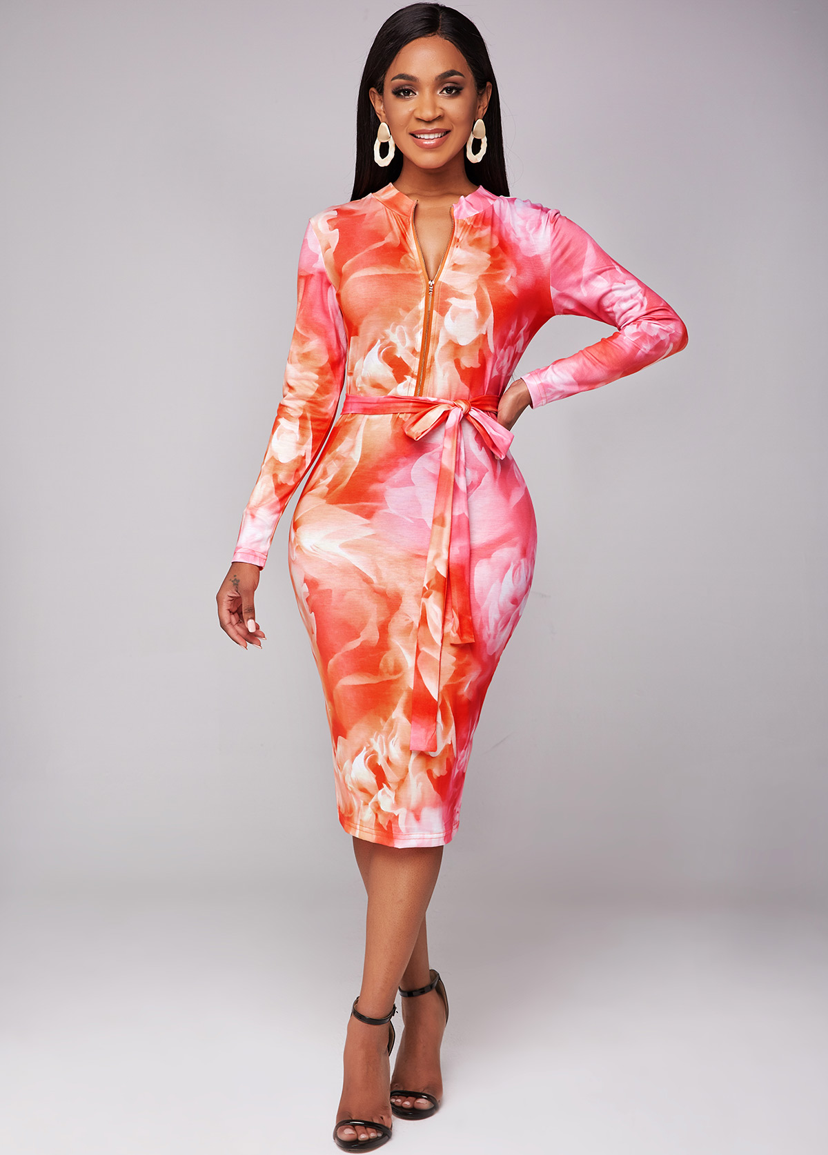 Quarter Zip Printed Long Sleeve Belted Dress