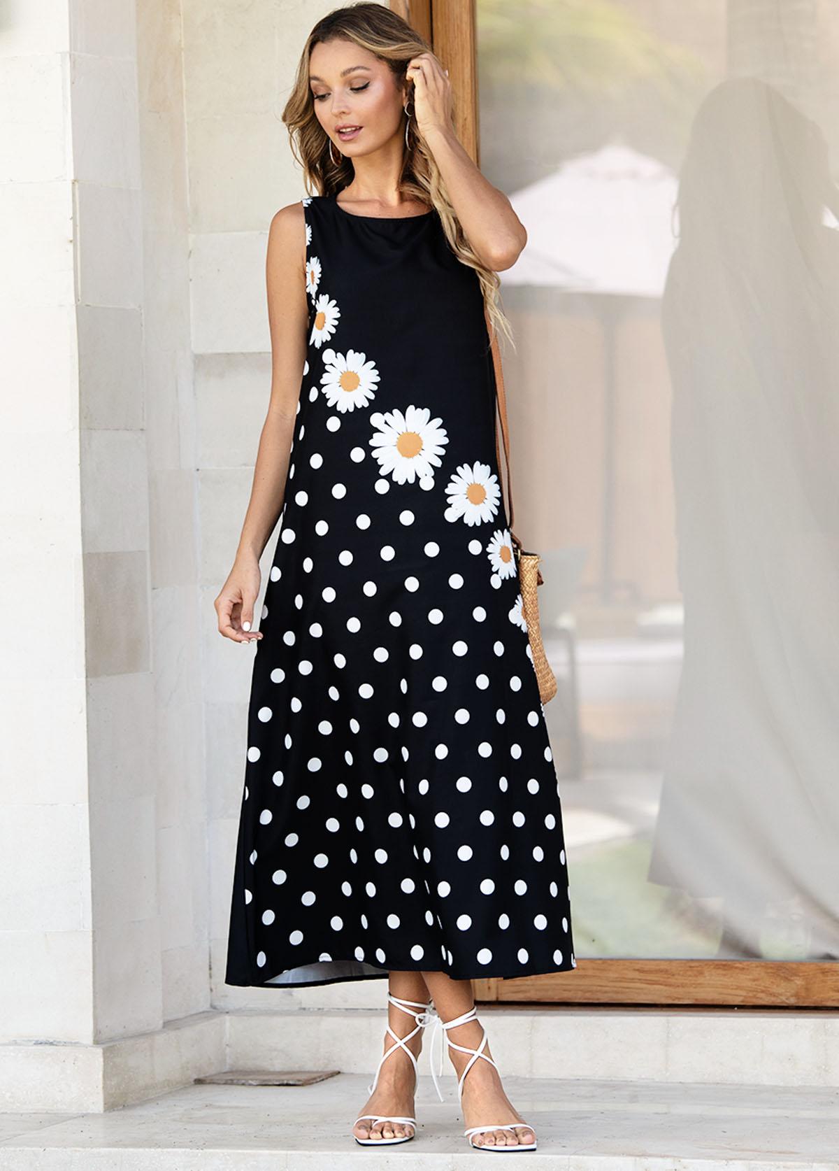 Sleeveless Daisy Print Polka Dot Dress
