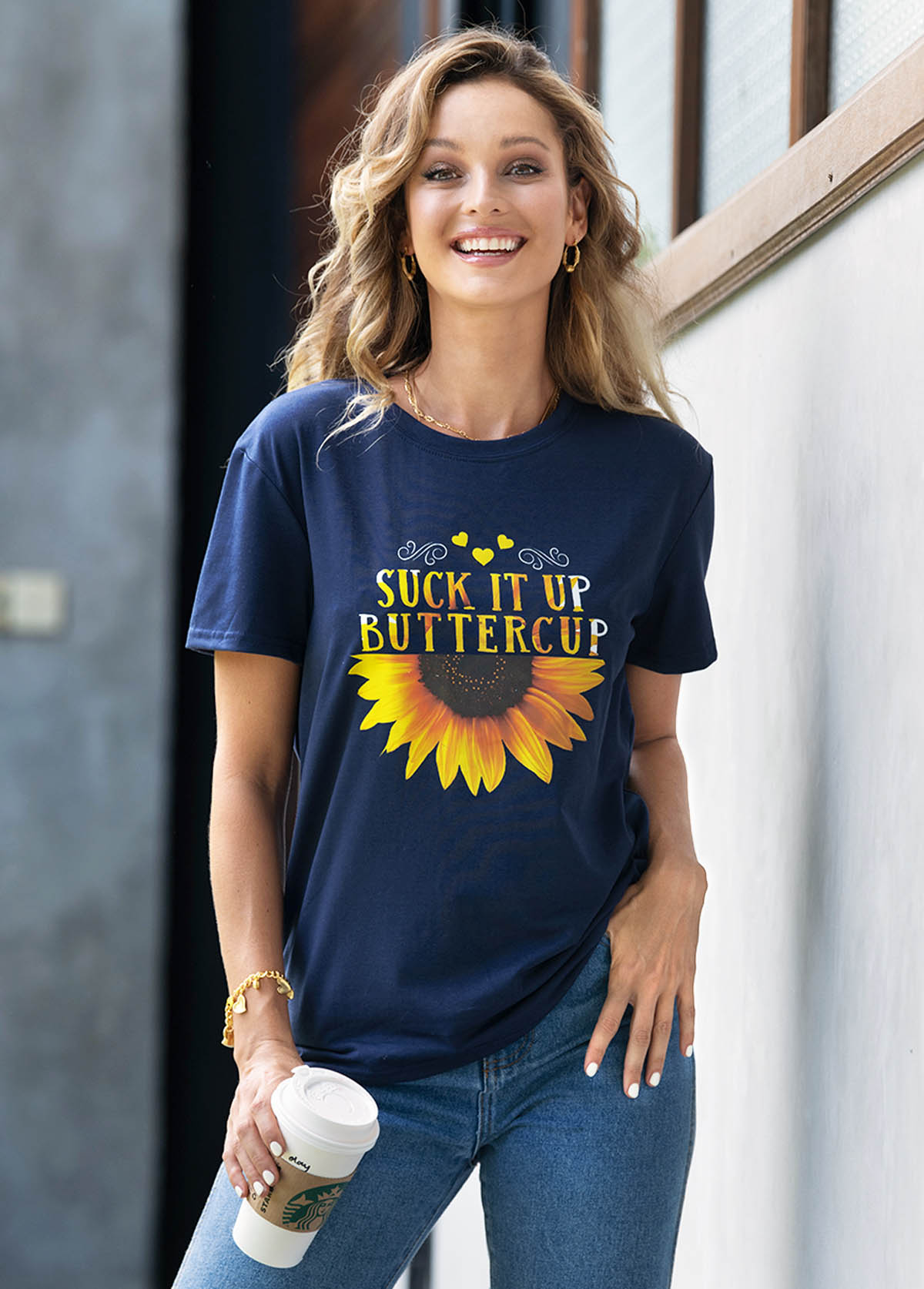 Sunflower and Letter Print T Shirt