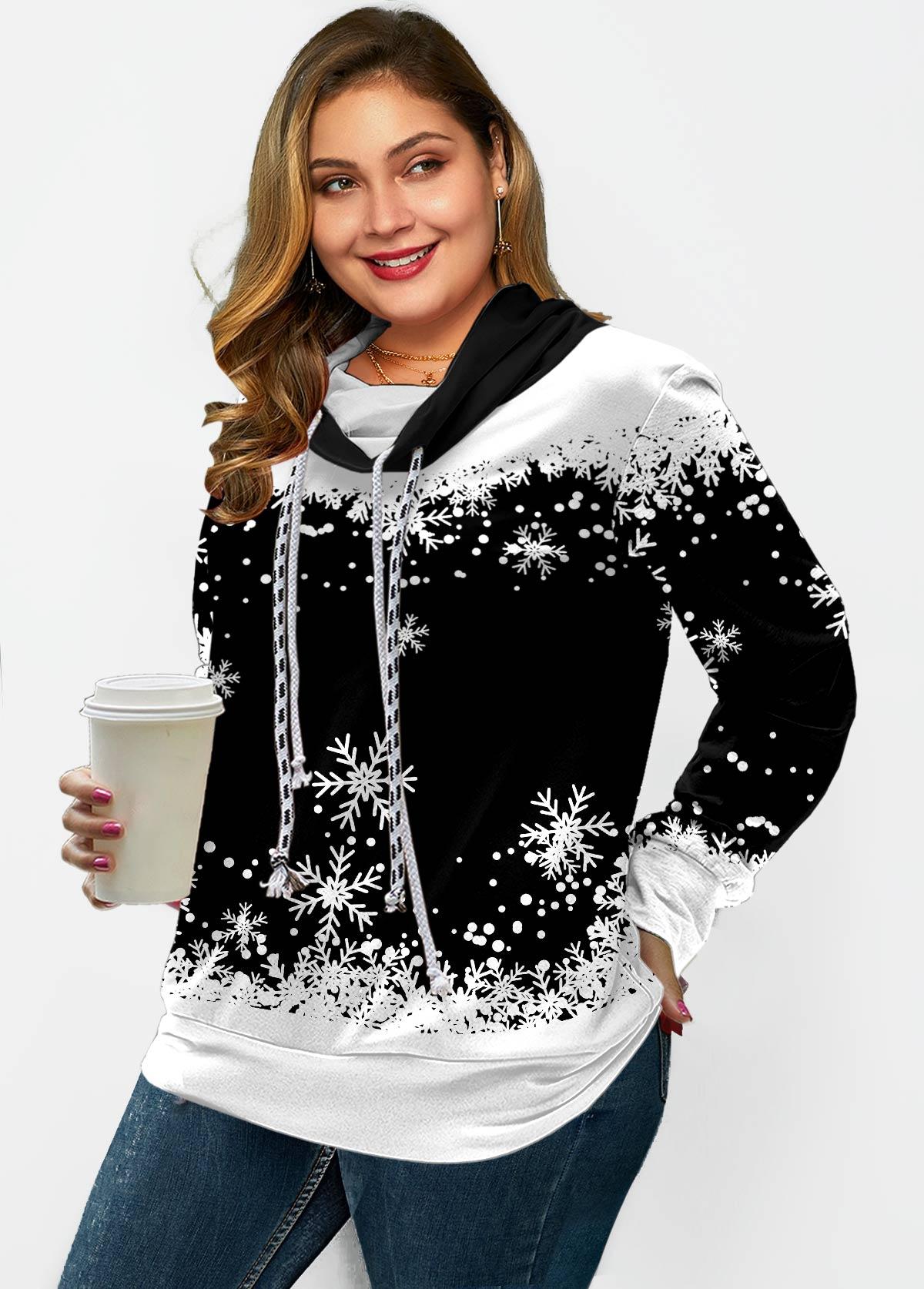 ROTITA Plus Size Drawstring Snowflake Print Sweatshirt