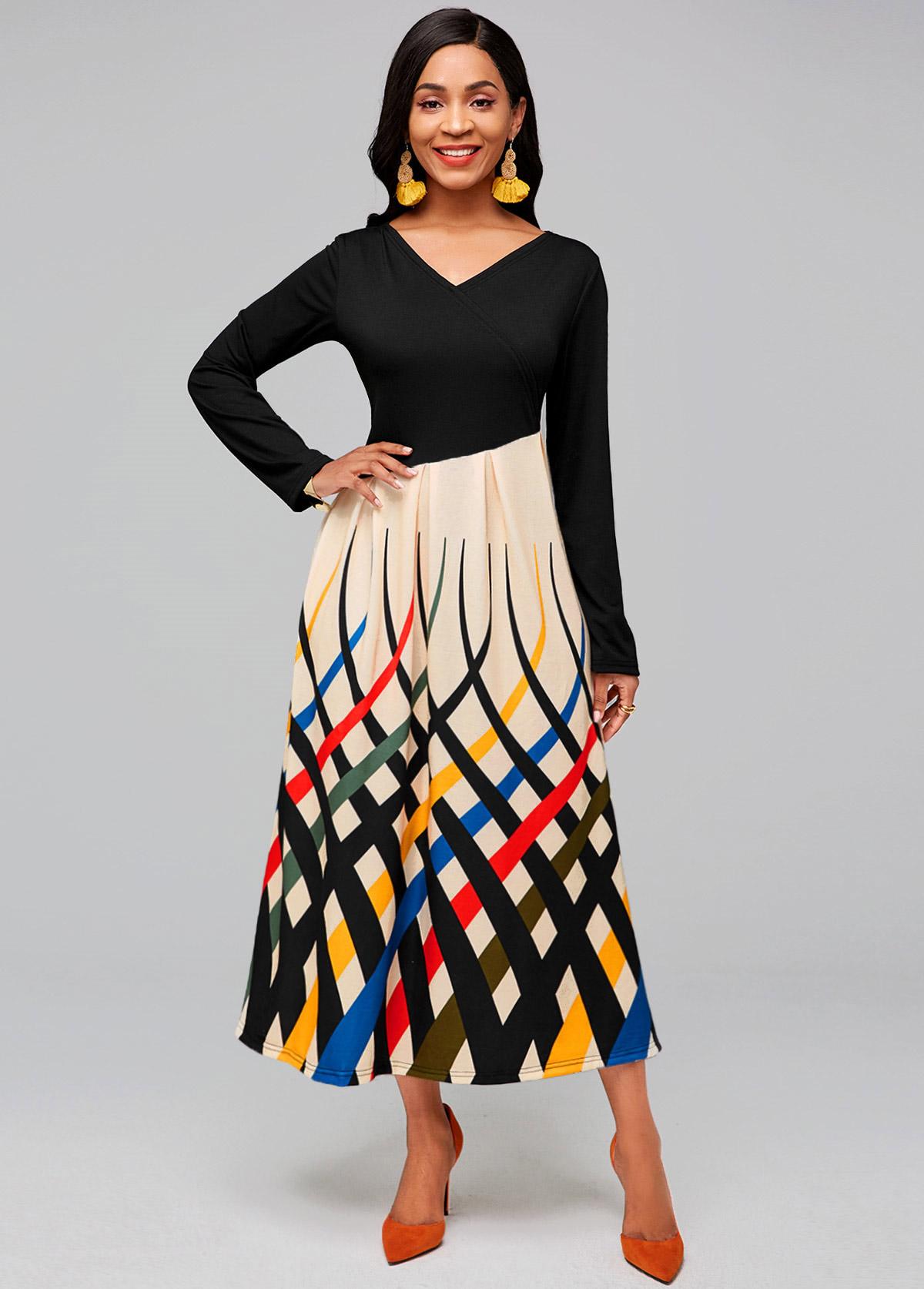 V Neck Long Sleeve Rainbow Stripe Dress