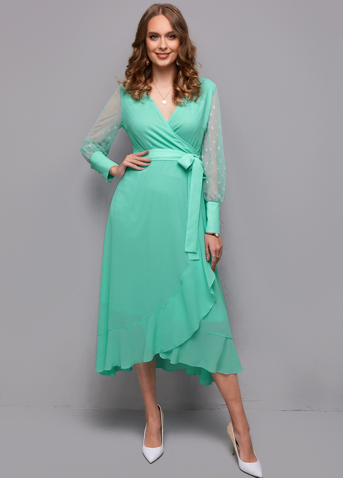 ROTITA Mesh Stitching Flounce Belted Wrap Dress