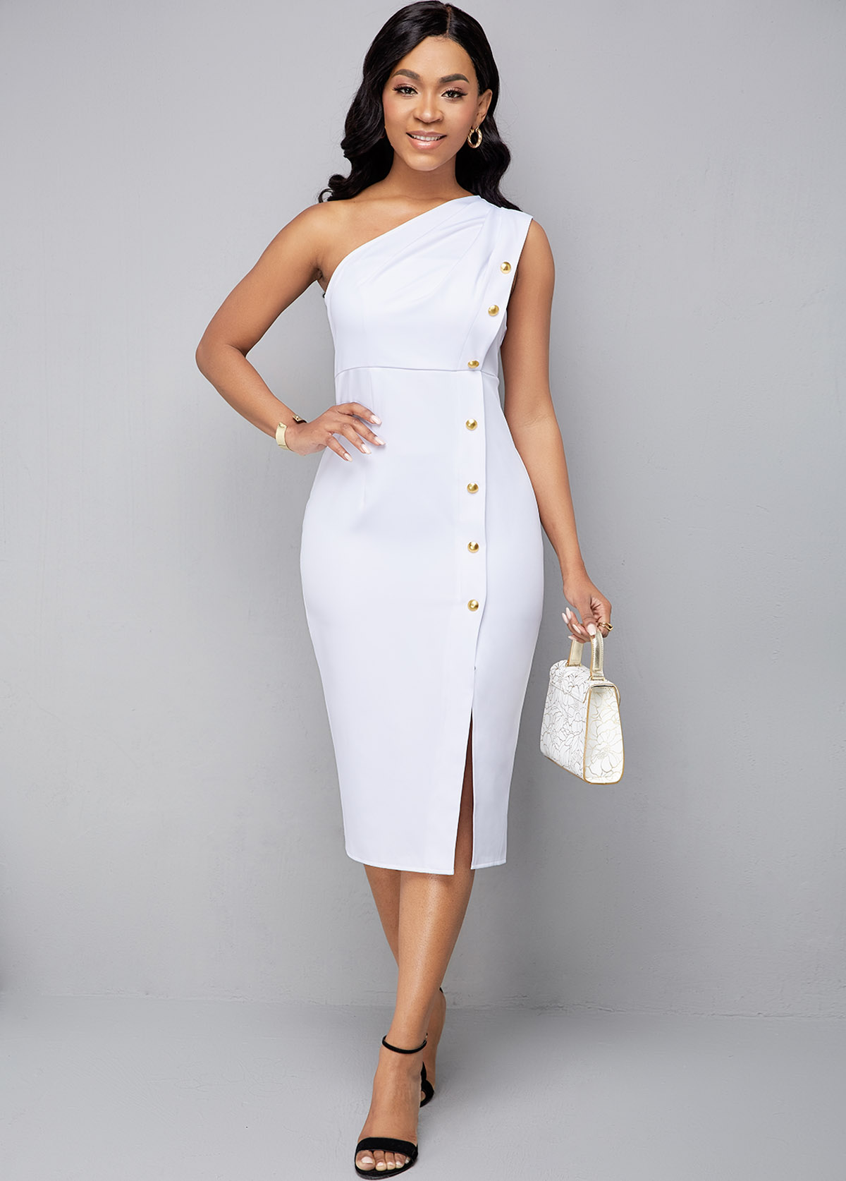 ROTITA Sleeveless One Shoulder Side Slit Dress