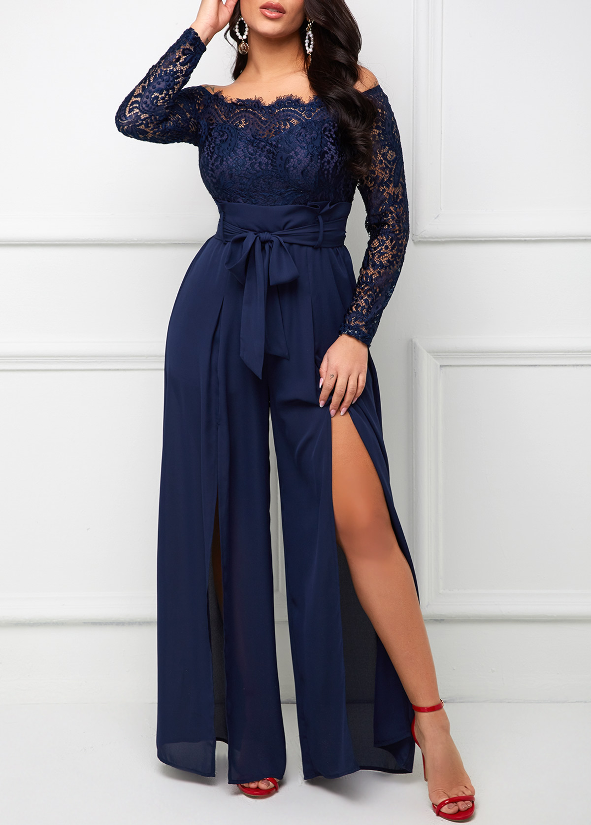 ROTITA Off Shoulder Lace Stitching Long Sleeve Jumpsuit