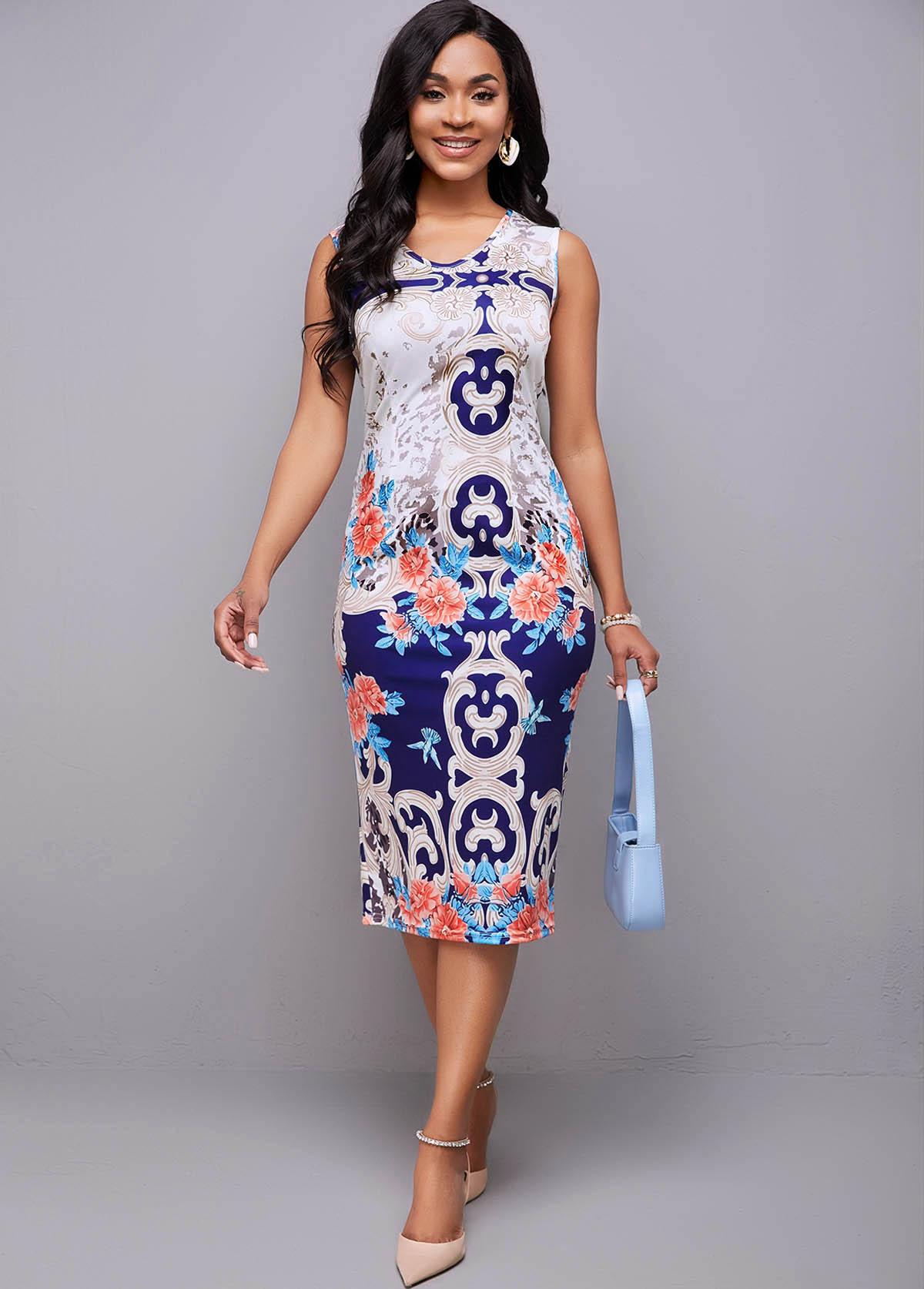 ROTITA Sleeveless Tribal Print Round Neck Dress