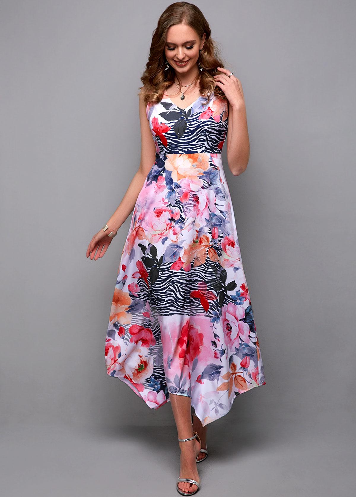 ROTITA Sleeveless Flower Print V Neck Maxi Dress