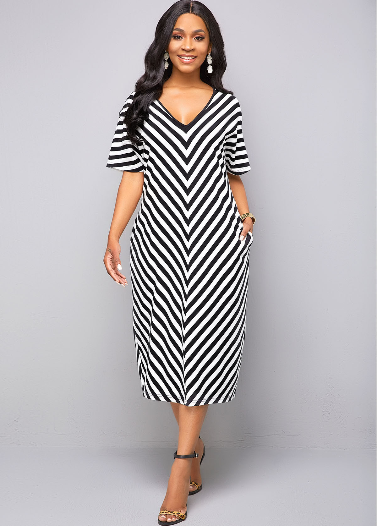 ROTITA V Neck Pocket Half Sleeve Striped Dress