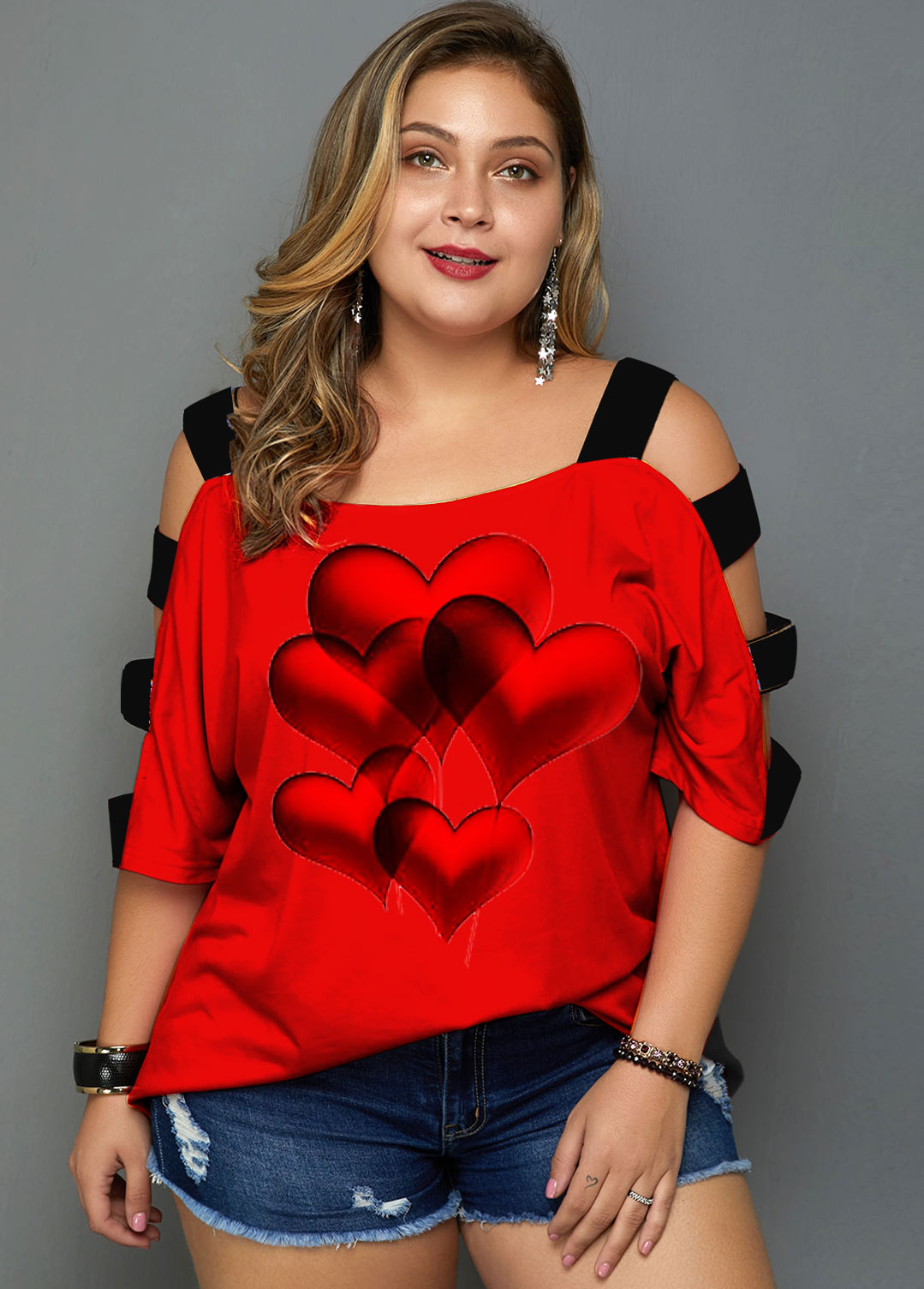 ROTITA Heart Print Plus Size Ladder Cutout T Shirt
