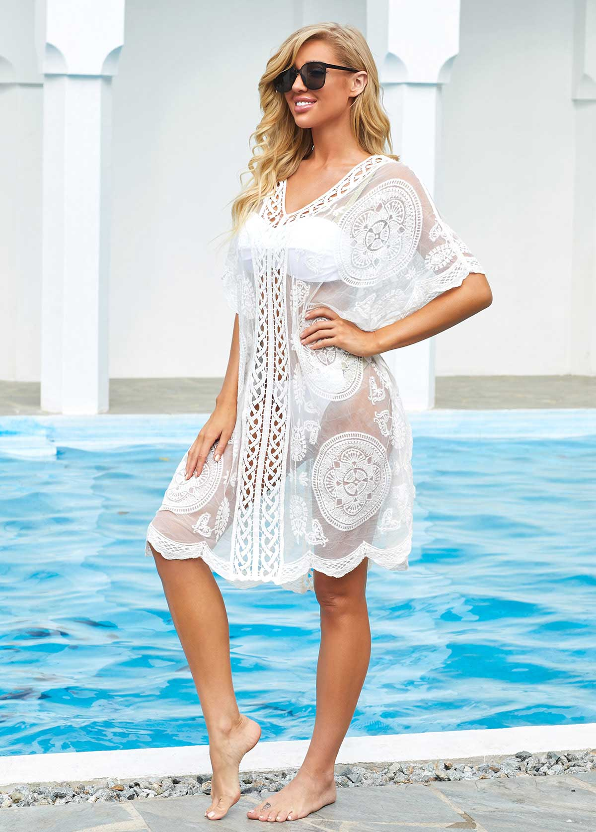 Lace Trim White V Neck Cover Up