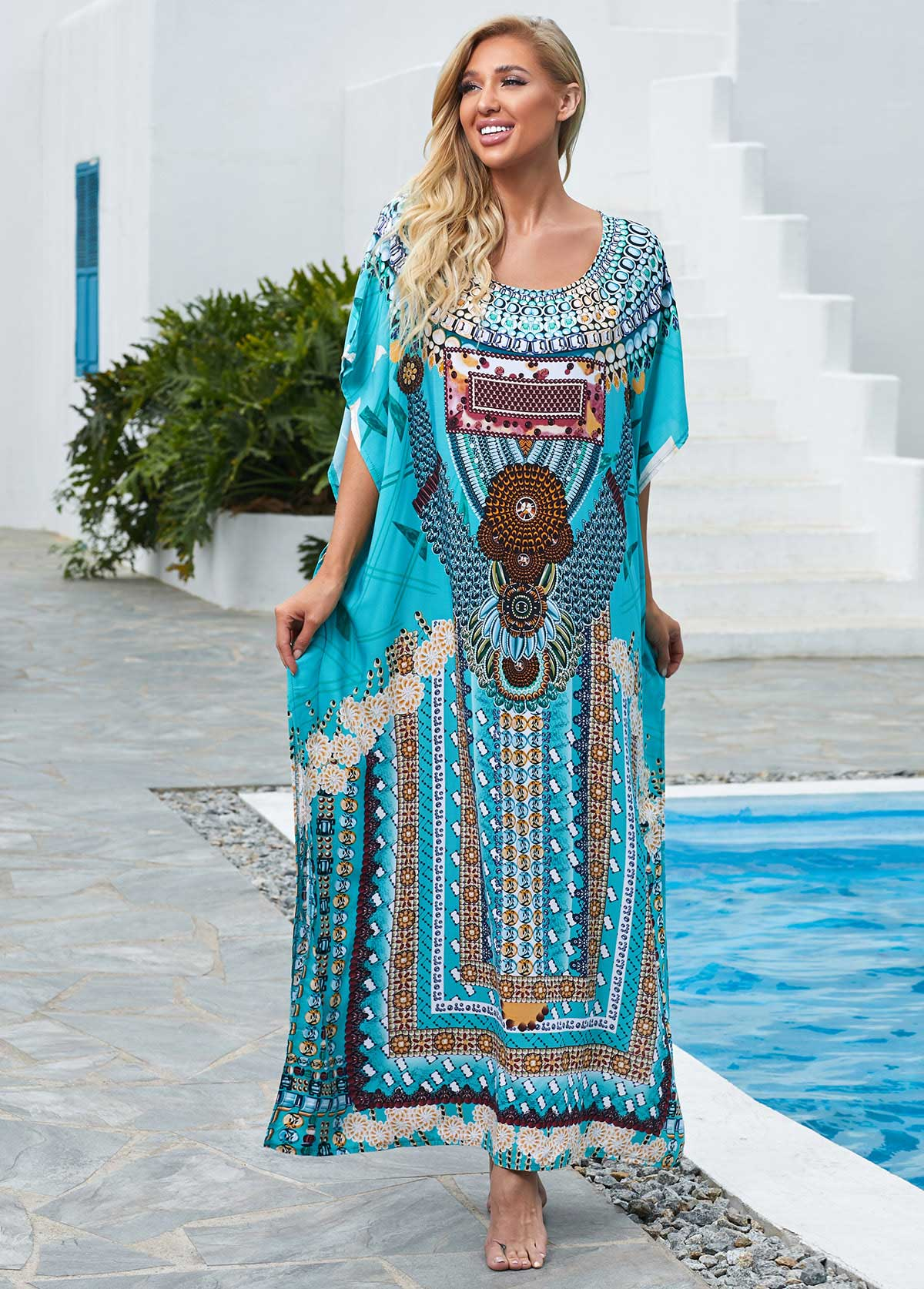 Tribal Print Round Neck Side Slit Cover Up