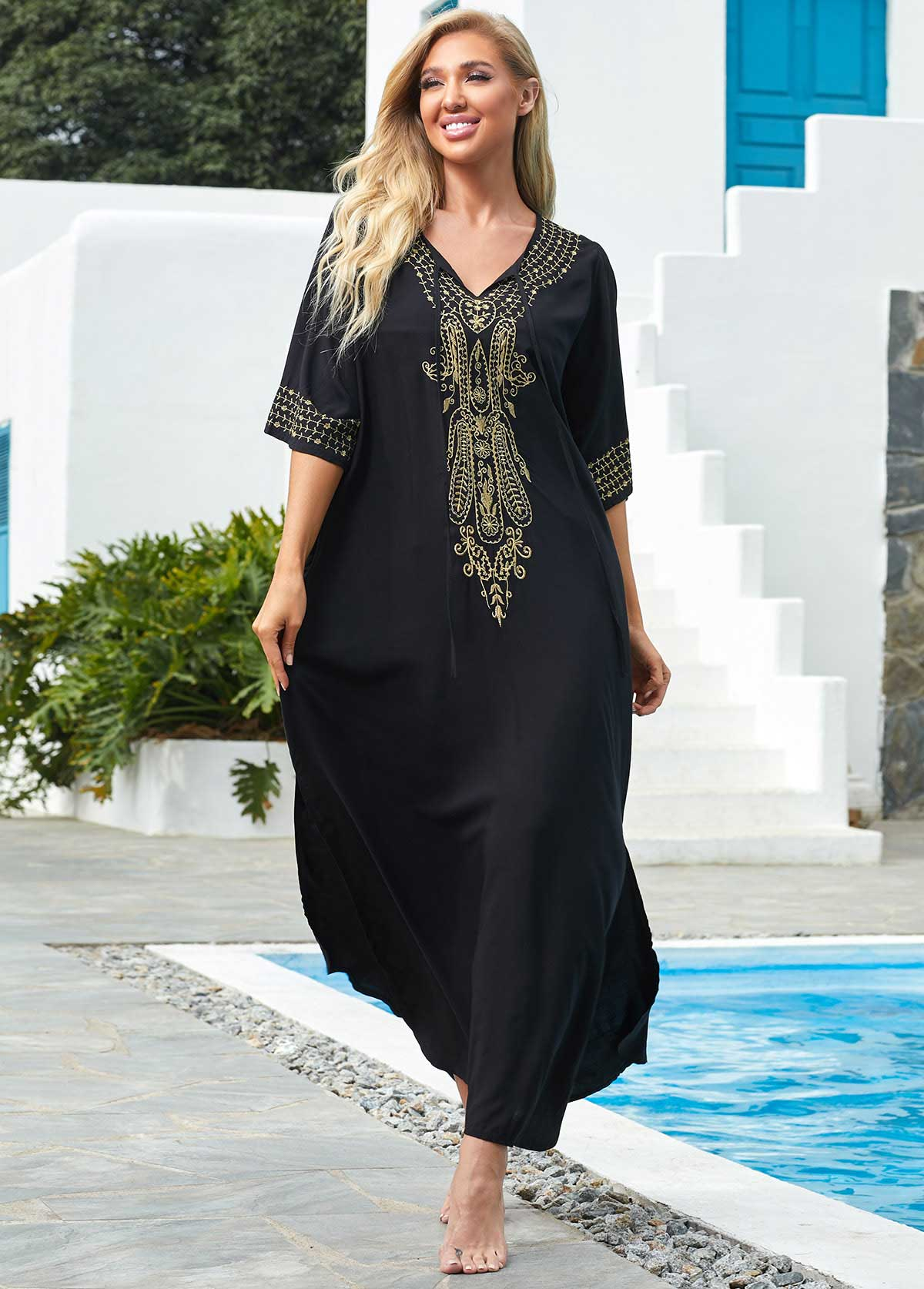 V Neck 3/4 Sleeve Embroidered Cover Up