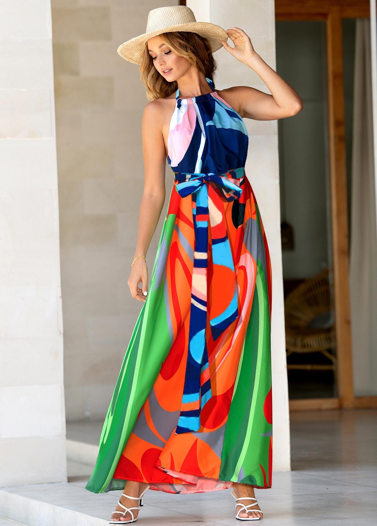 Halter Bohemian Print High Waist Dress