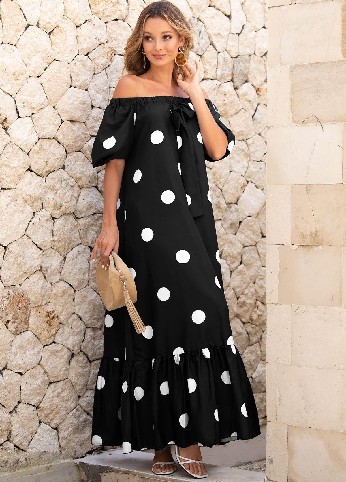 Off Shoulder Tie Front Polka Dot Dress