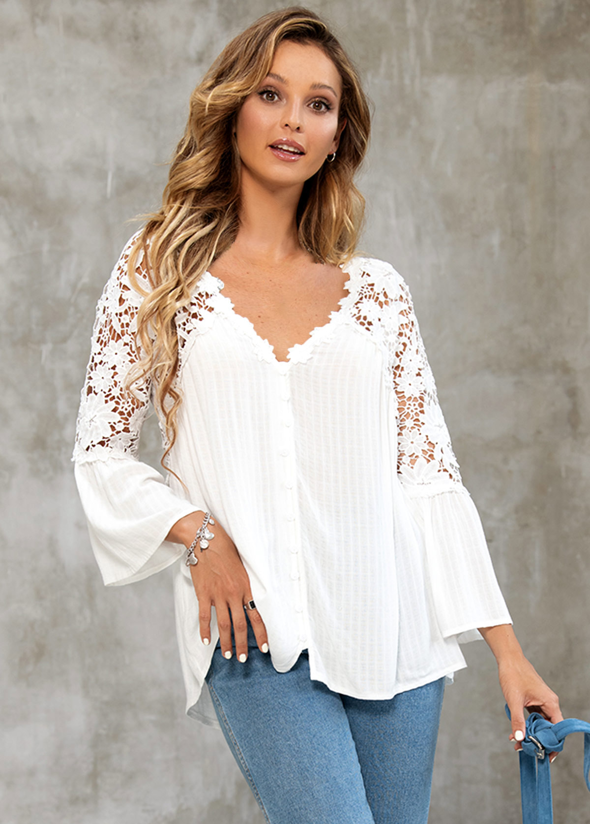 Lace Stitching Long Sleeve Button Up Blouse
