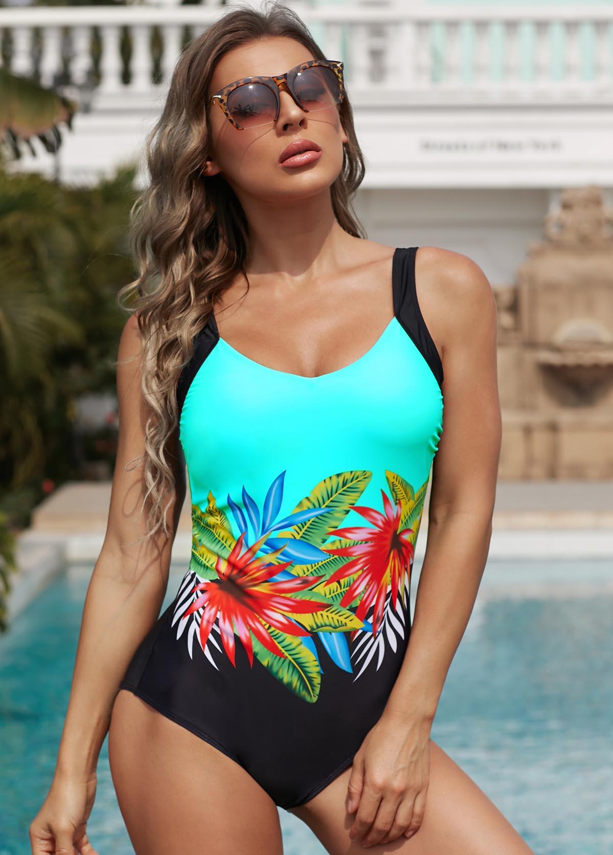 ROTITA Low Back Floral Print One Piece Swimwear