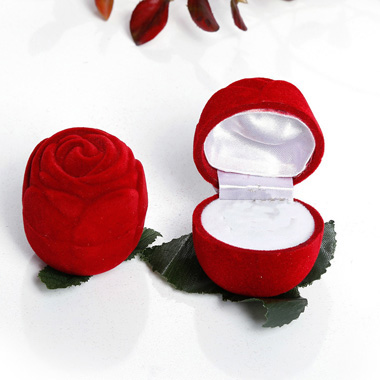 2.0 X 2.0 X 2.0 Inch Flocking Rose Design Ring Box